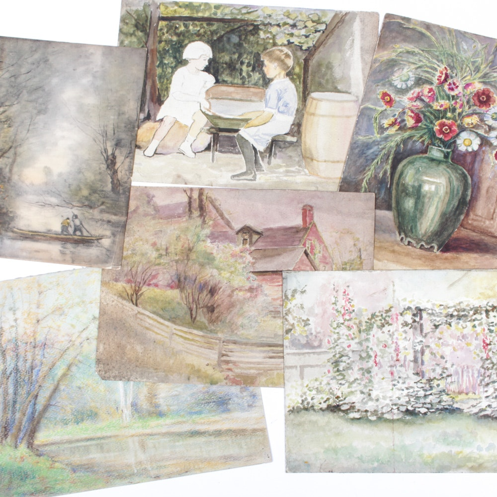 Original Conn Baker Watercolors and Pastel Drawings