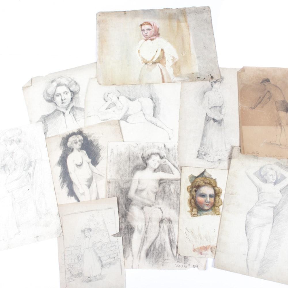Original Conn Baker Figure Sketches