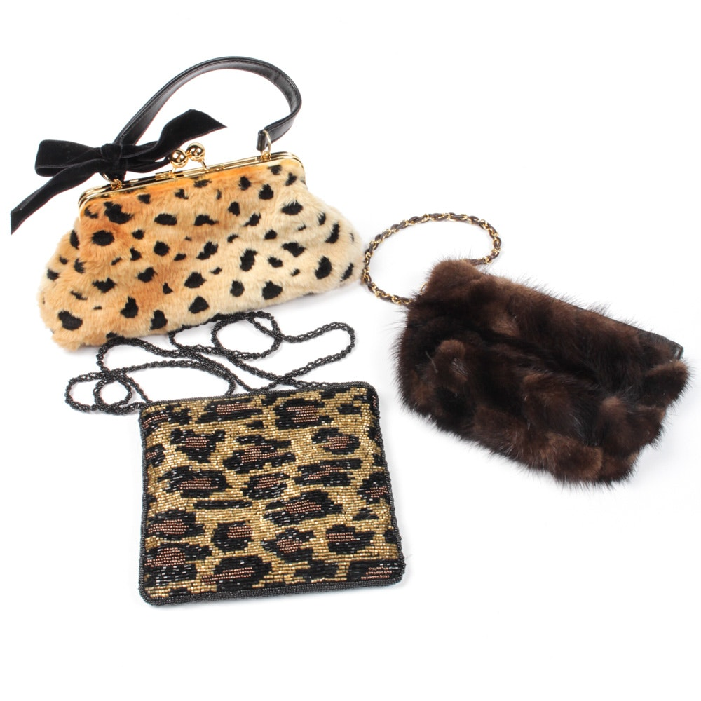 Handbag Collection Including Mink Fur, Faux Leopard and Beaded Bags