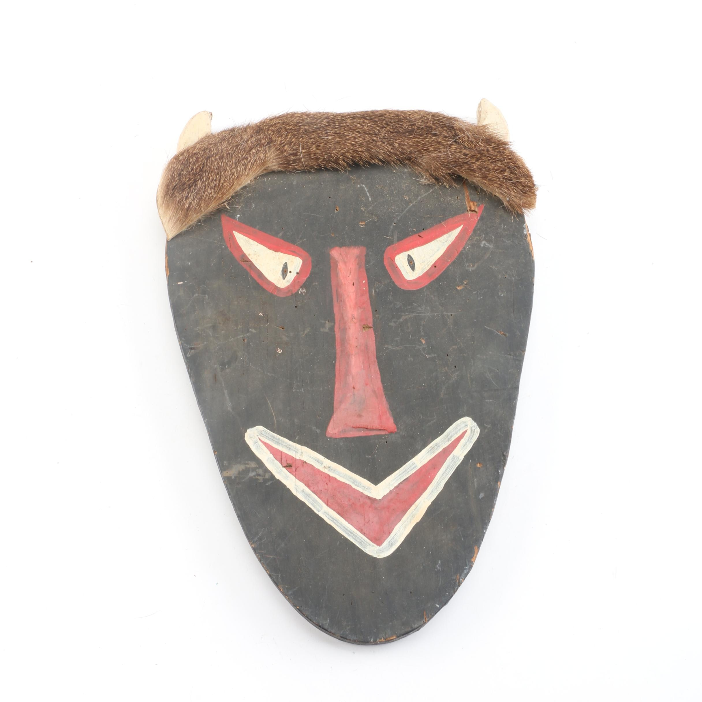 Hand Painted Wood and Fur Wall Mask