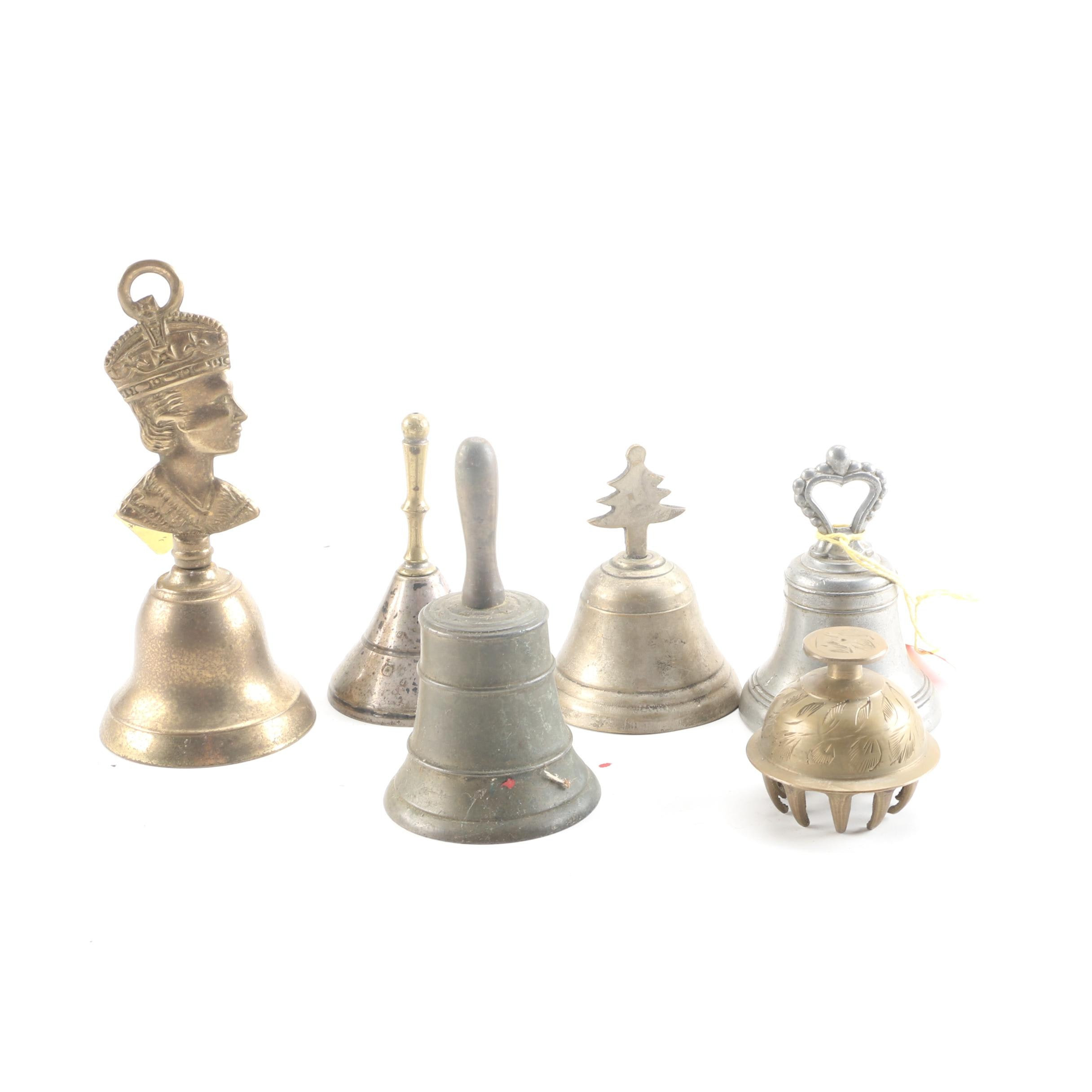 Brass Bells Including Queen Elizabeth Commemorative Coronation Bell