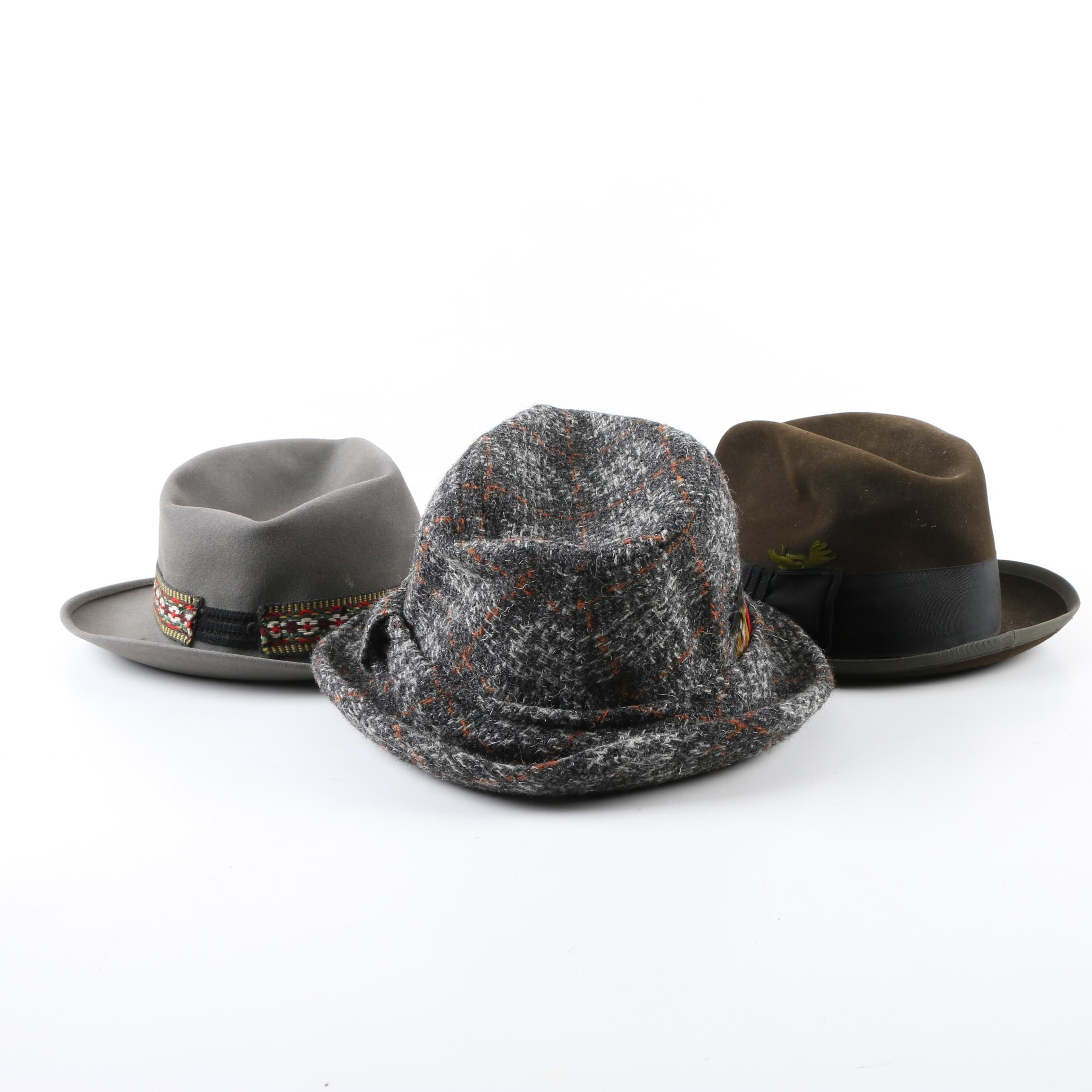 Men's Vintage Fedoras Including Dobbs Challenger and Knox
