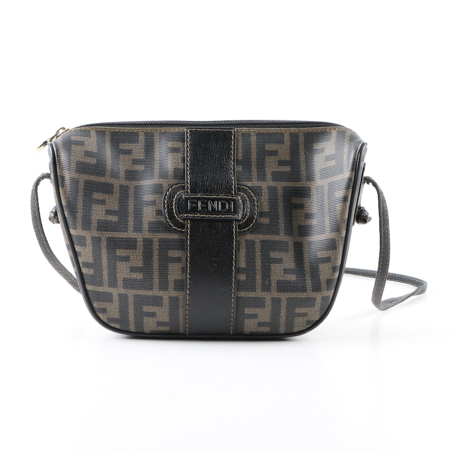 37920a8cda04 Vintage Fendi Zucca Coated Canvas Crossbody Bag