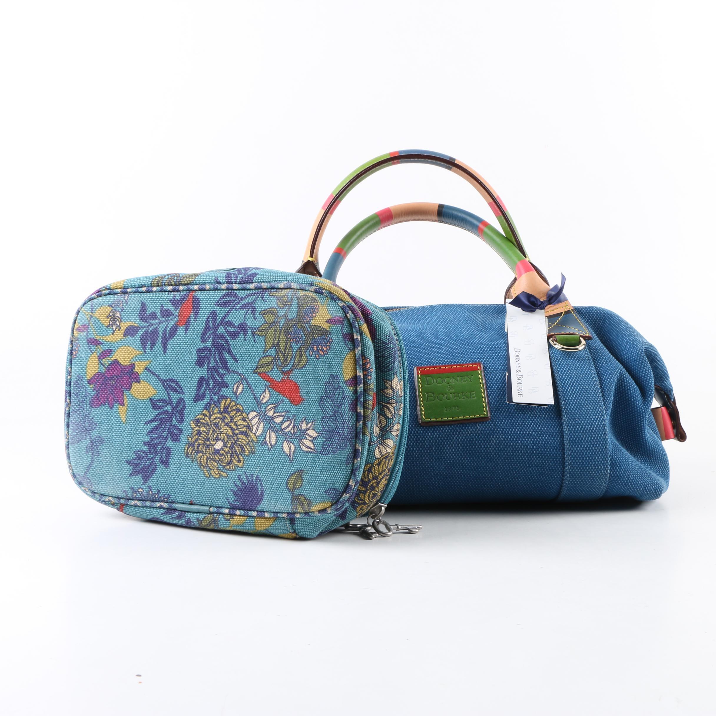 Dooney & Bourke Canvas Handbag with Fossil Cosmetic Bag
