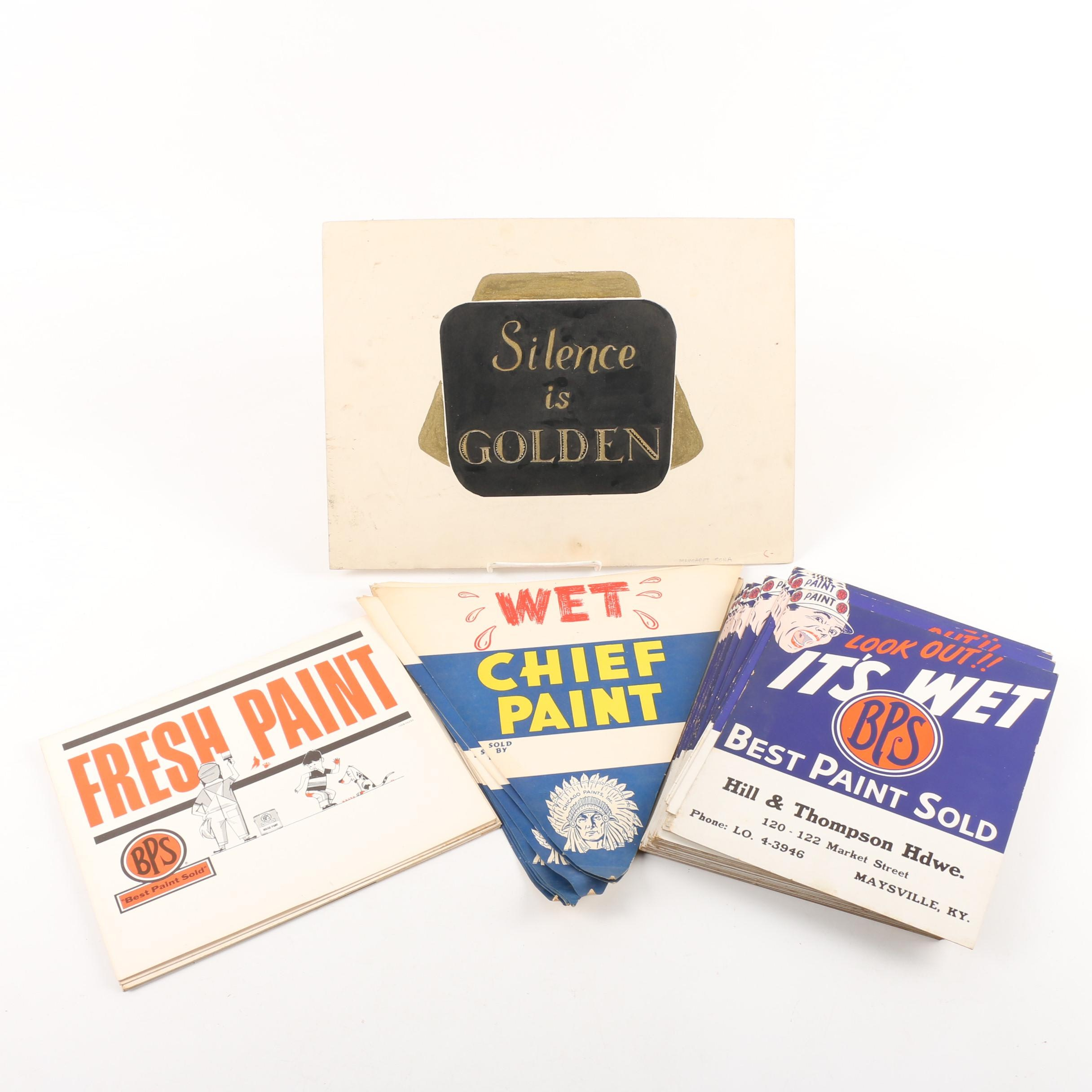 """Vintage Wet Paint Signs and """"Silence is Golden"""" Poster"""