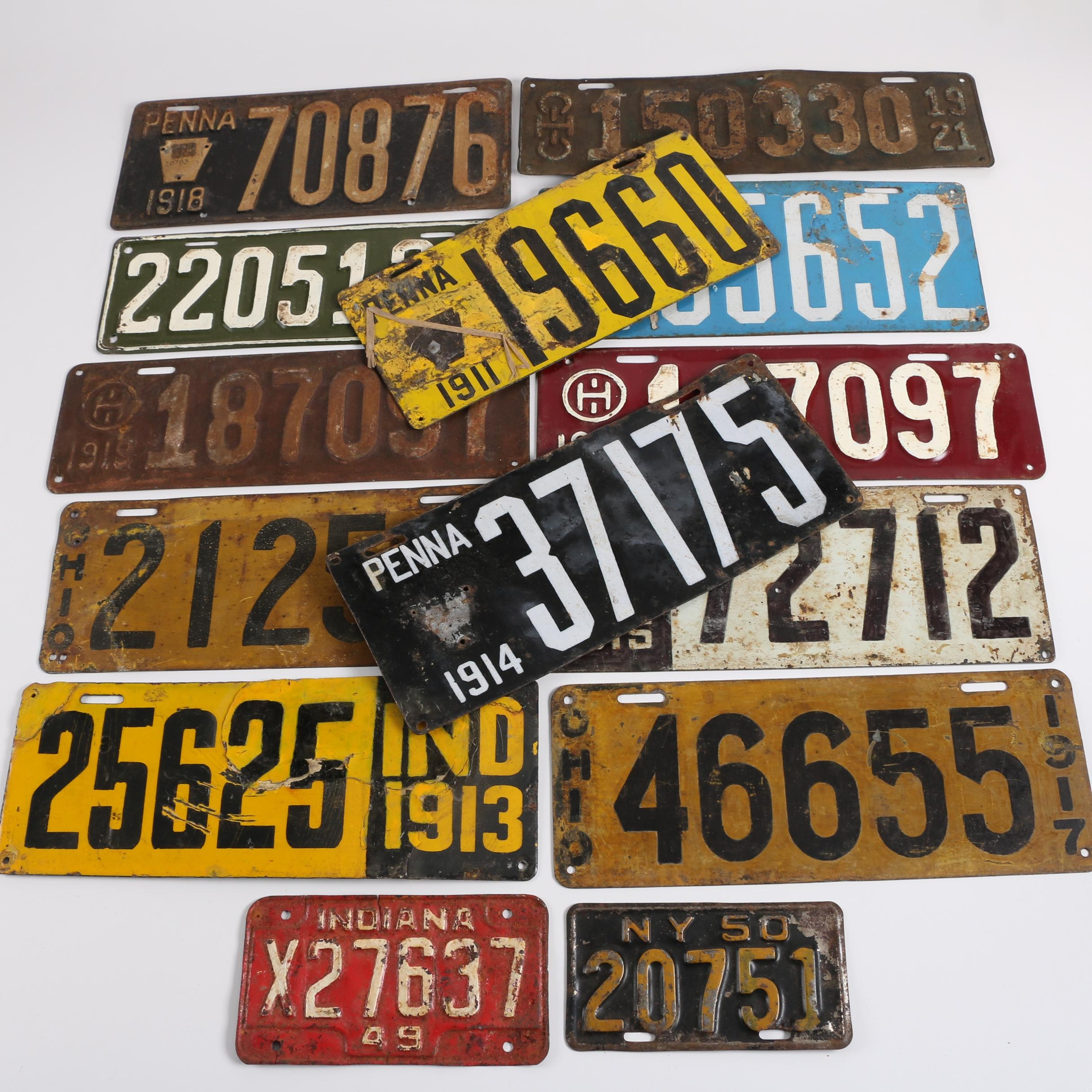 Early 20th Century License Plates from Ohio, Pennsylvania, and More