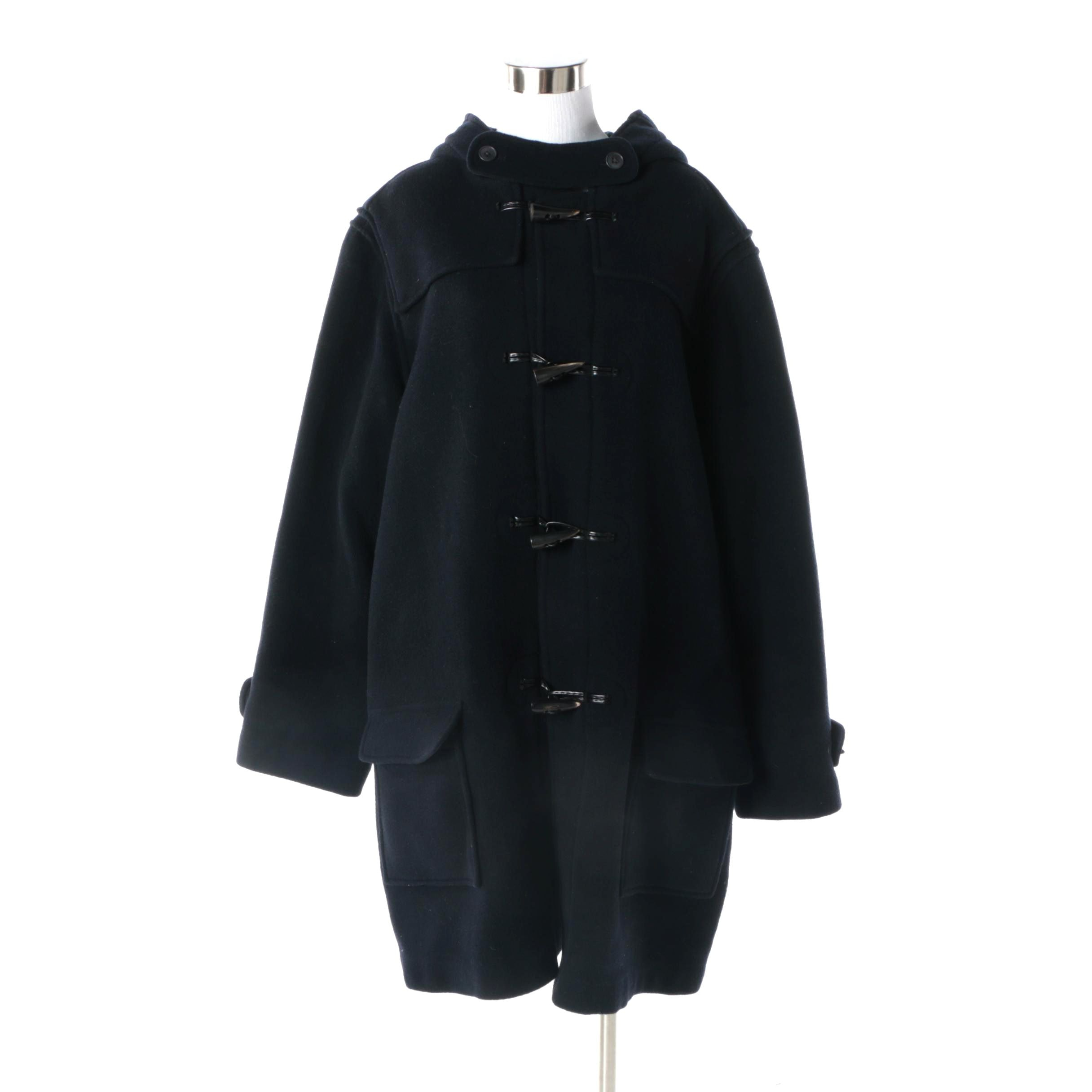 Women's J. Peterman Navy Wool Hooded Duffel Coat