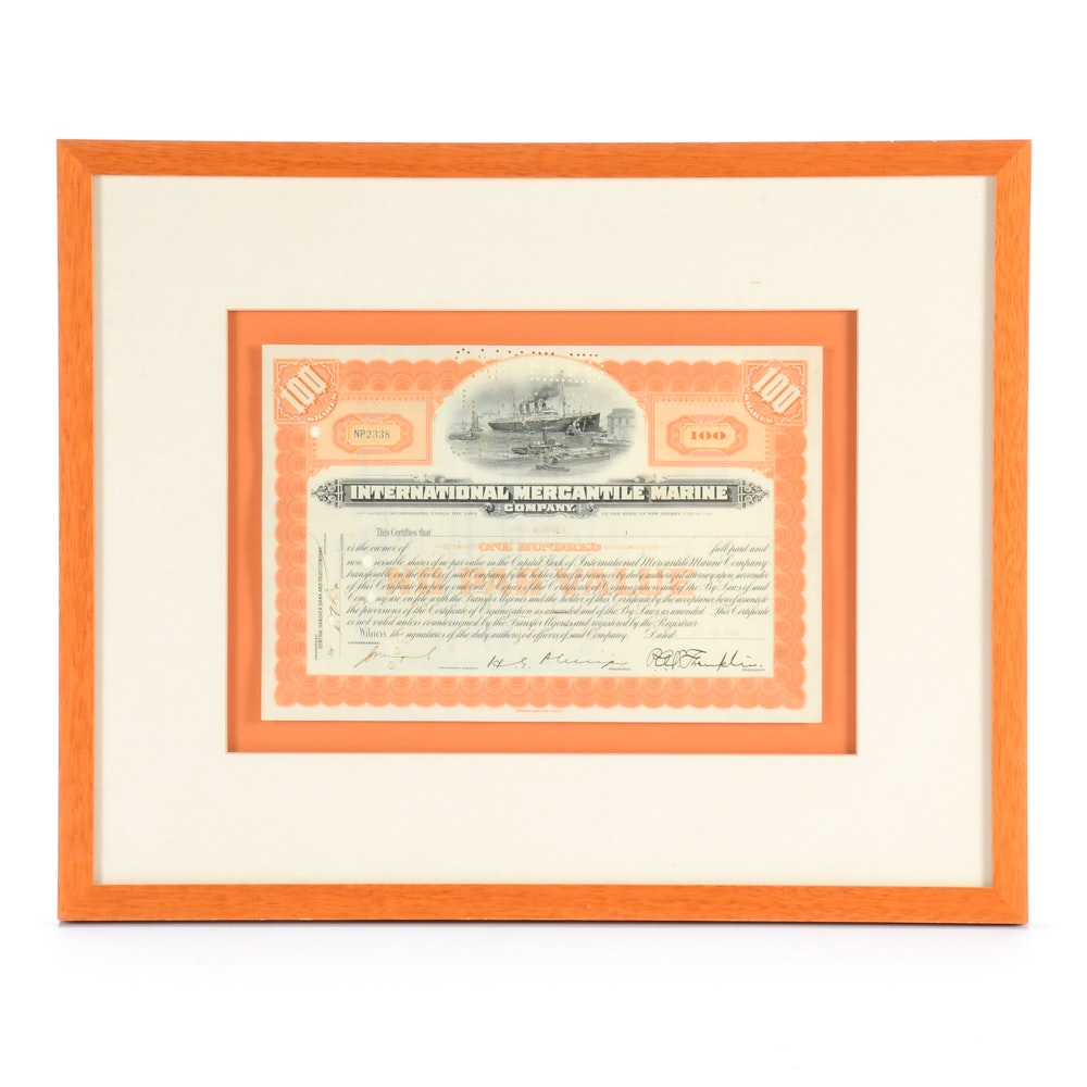 Vintage Stock Certificate From International Mercantile Marine Company