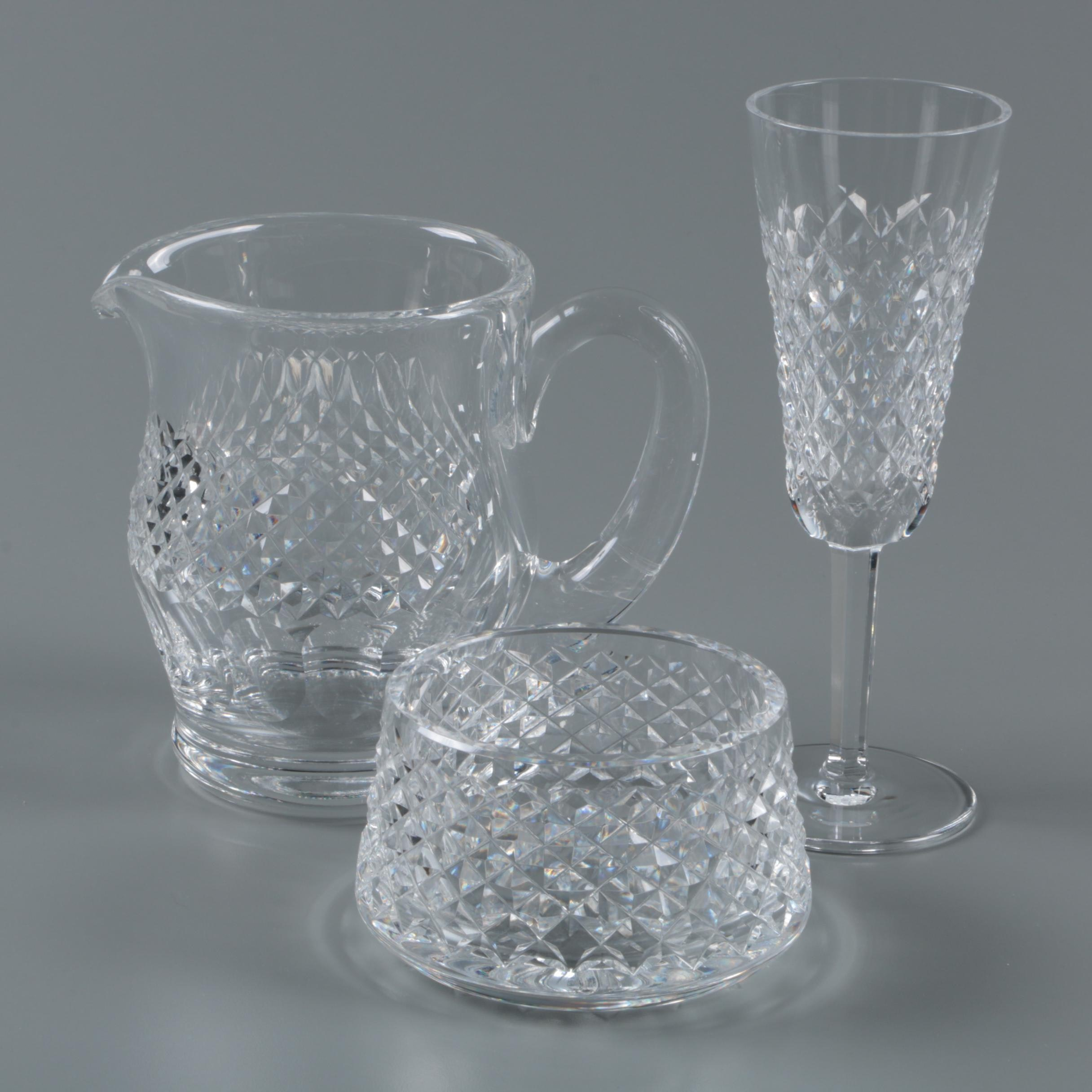 """Waterford Crystal """"Alana"""" Flute and Sugar Bowl with """"Colleen"""" Pitcher"""