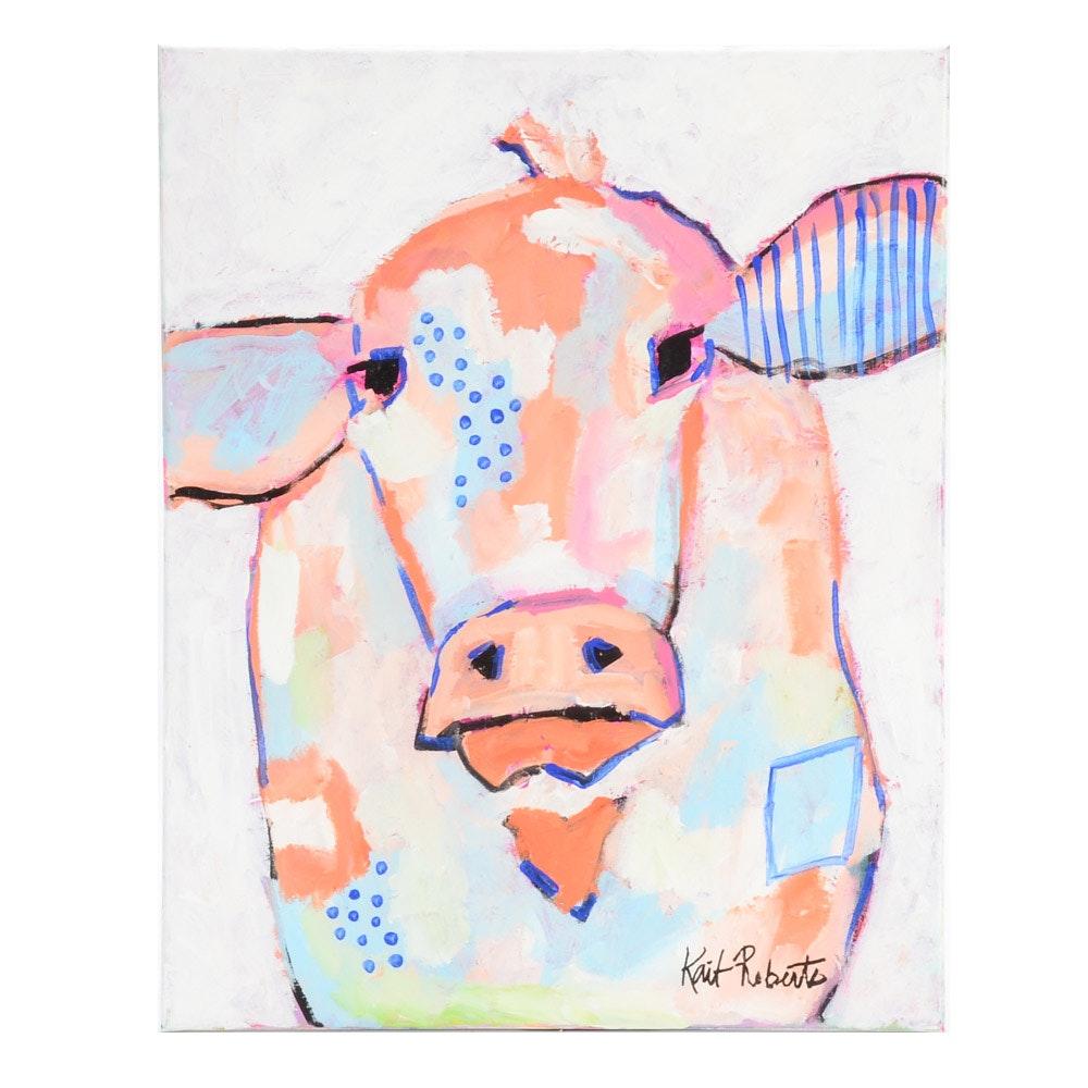 "Kait Roberts Original Acrylic Painting on Canvas ""Moo Series: Bernadette"""