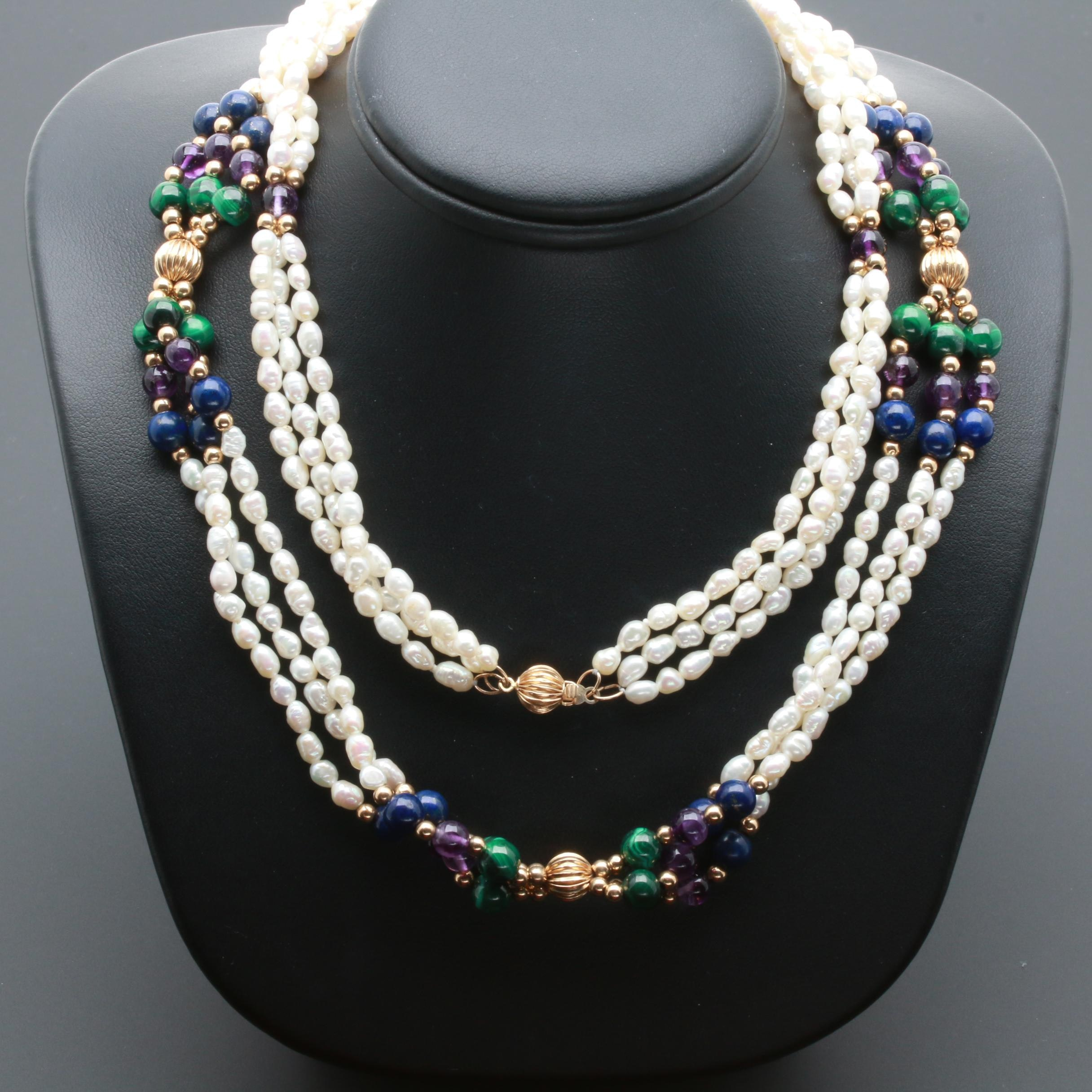 14K Yellow Gold Pearl Necklace with Amethyst, Malachite and Lapis Lazuli