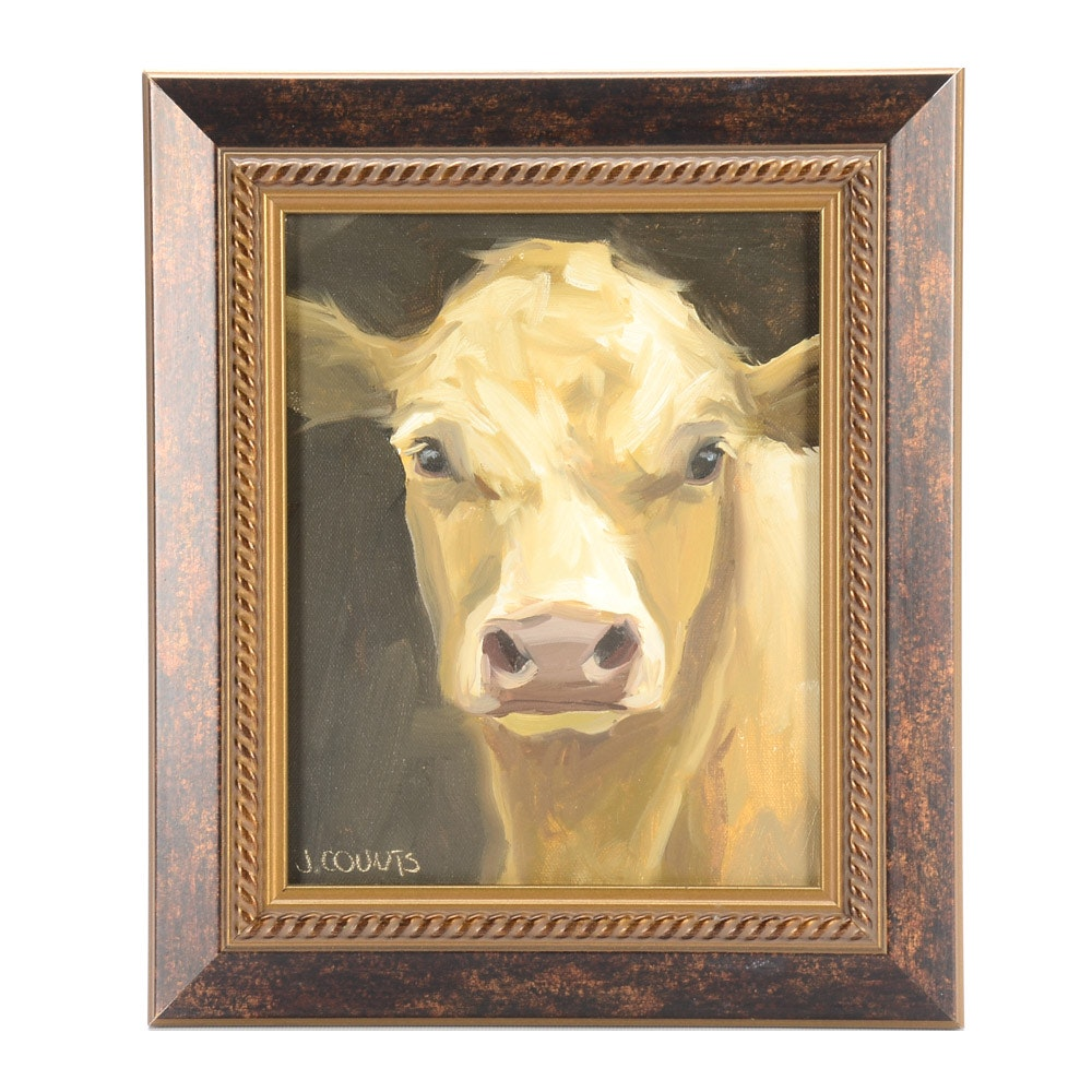 J. Counts Oil Painting on Canvas of a Cow