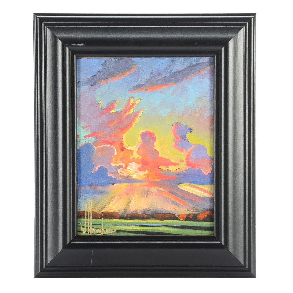 William Hawkins Oil Painting on Canvas Board of Sunset