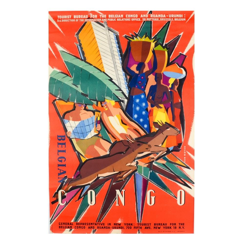 1950 Belgian Congo Travel Poster