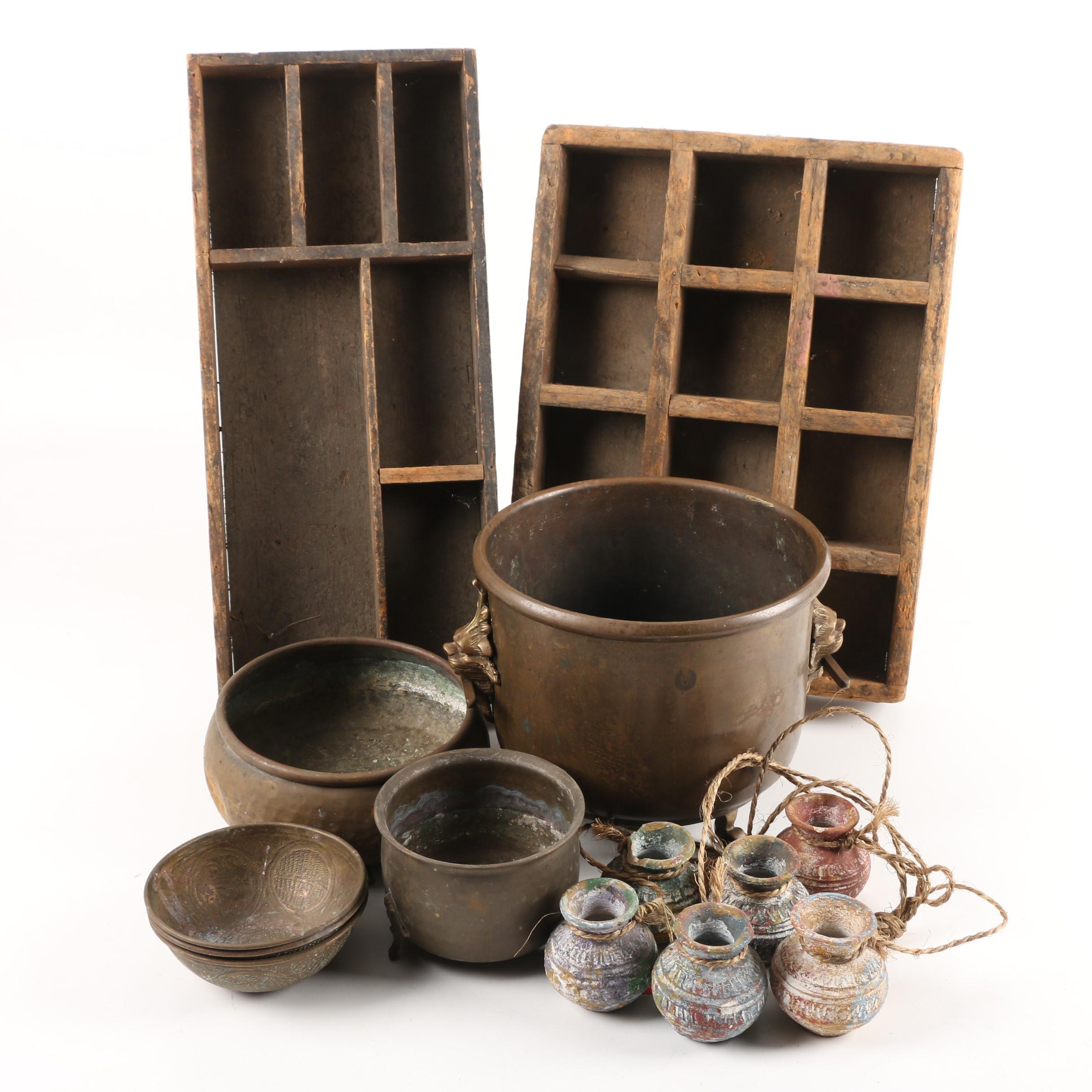 Hanging Clay Pots,Typesetter Trays, Brass Planter and Bowls