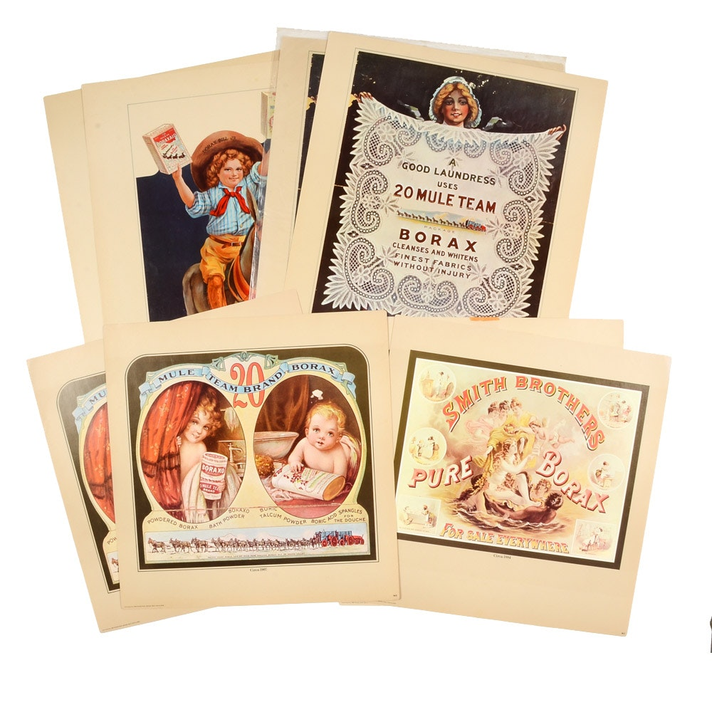 Eight Contemporary Offset Lithographs of Antique Borax Advertising