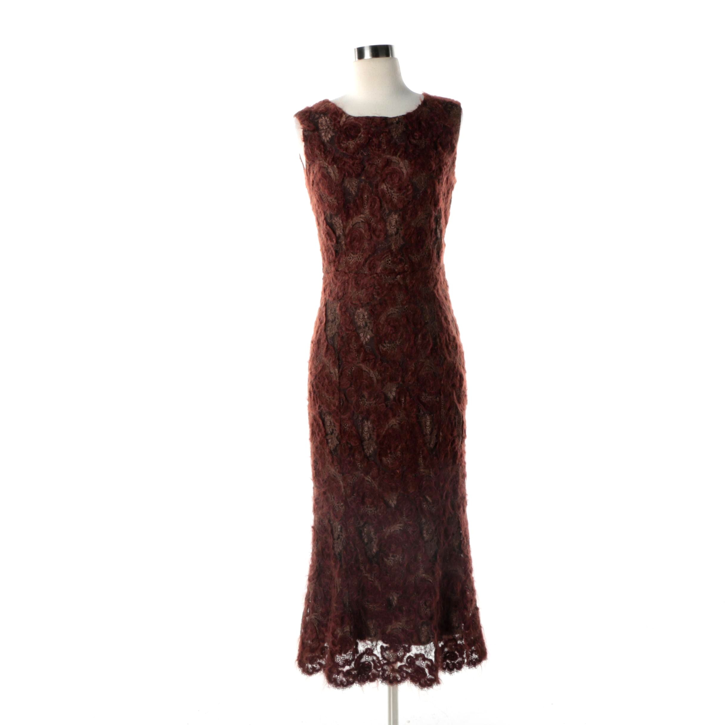 Collette Dinnigan Brown Lace Dress with Mohair Blend Embroidered Flowers