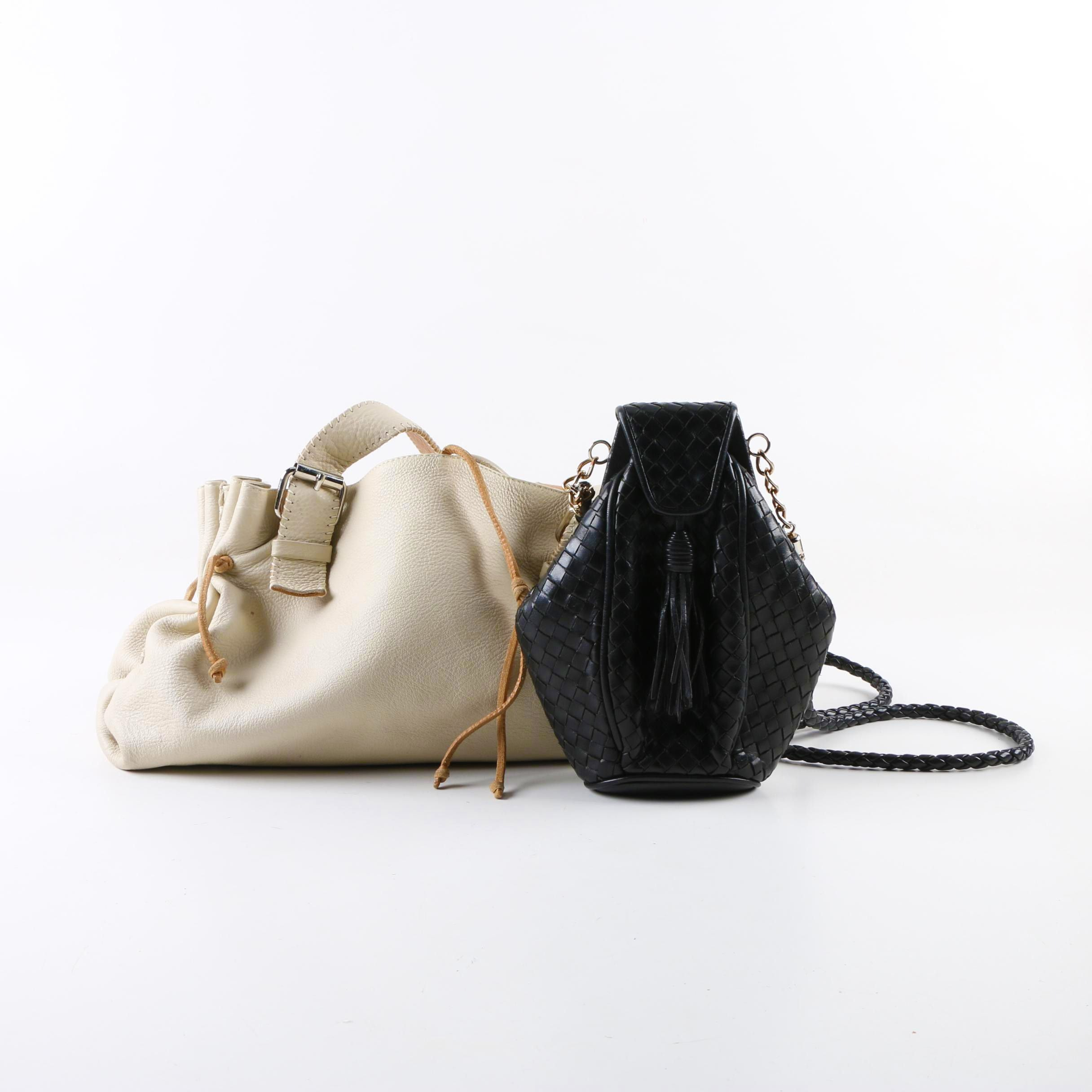 Leather Handbags Including Carla Mancini Satchel and Black Woven Frame Bag