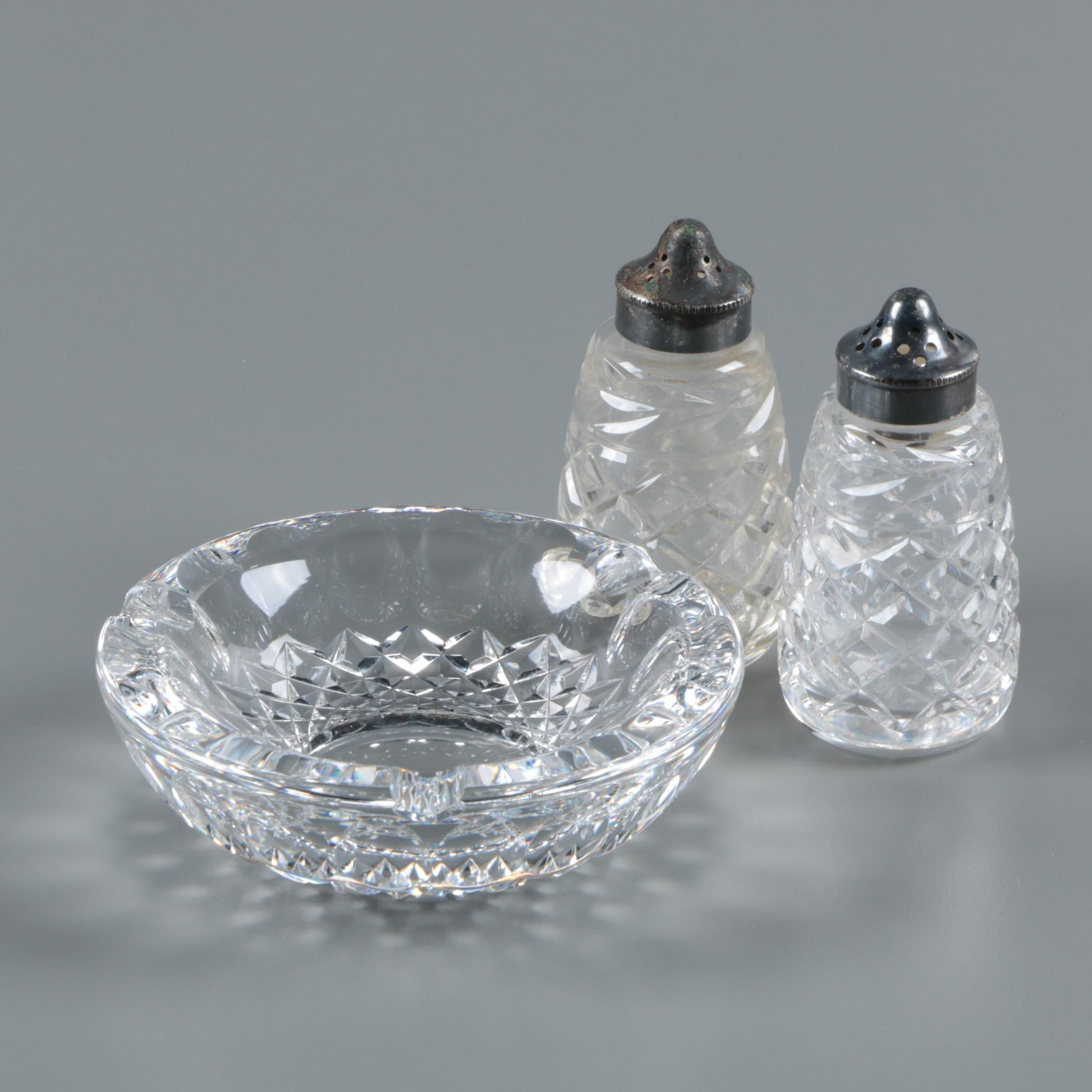 "Waterford Crystal ""Glandore"" Shakers with ""Colleen"" Ash Receiver"