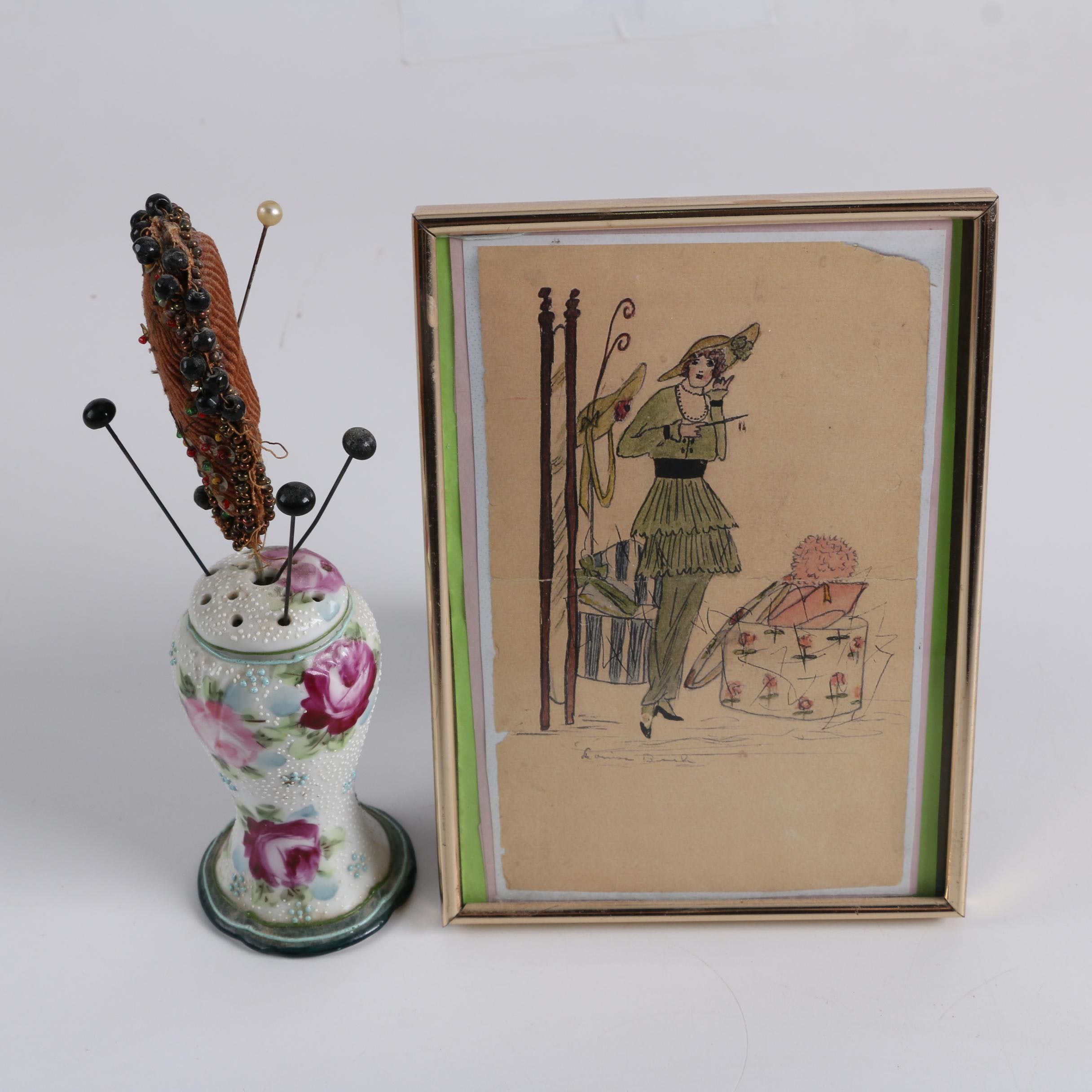 Reproduction Fashion Print and Porcelain Hat Pin Holder