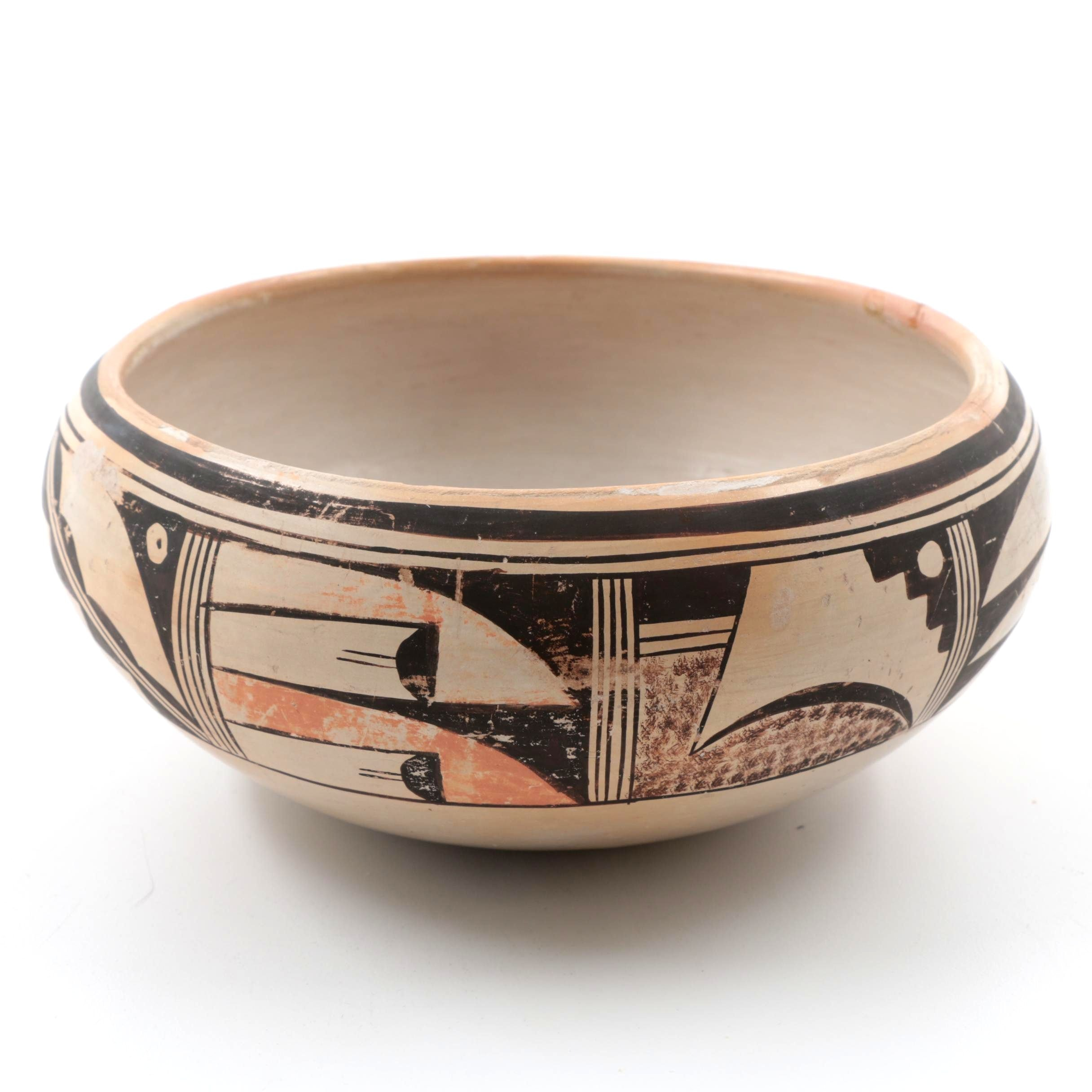 Signed Bessie Namoki Hopi Polychrome Pottery Bowl
