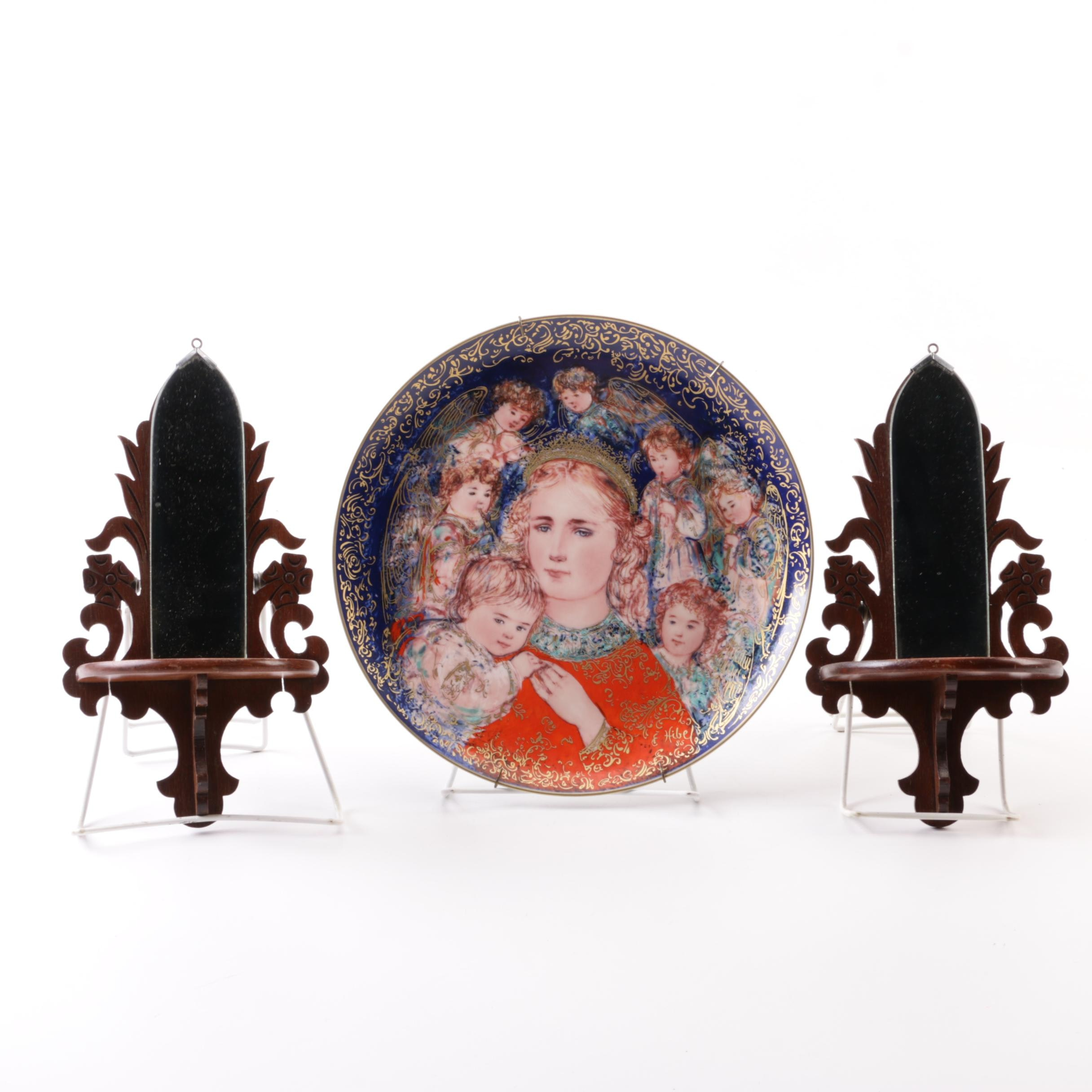 1985 Knowles Edna Hibel Christmas Plate and Scroll Products Wall Shelves
