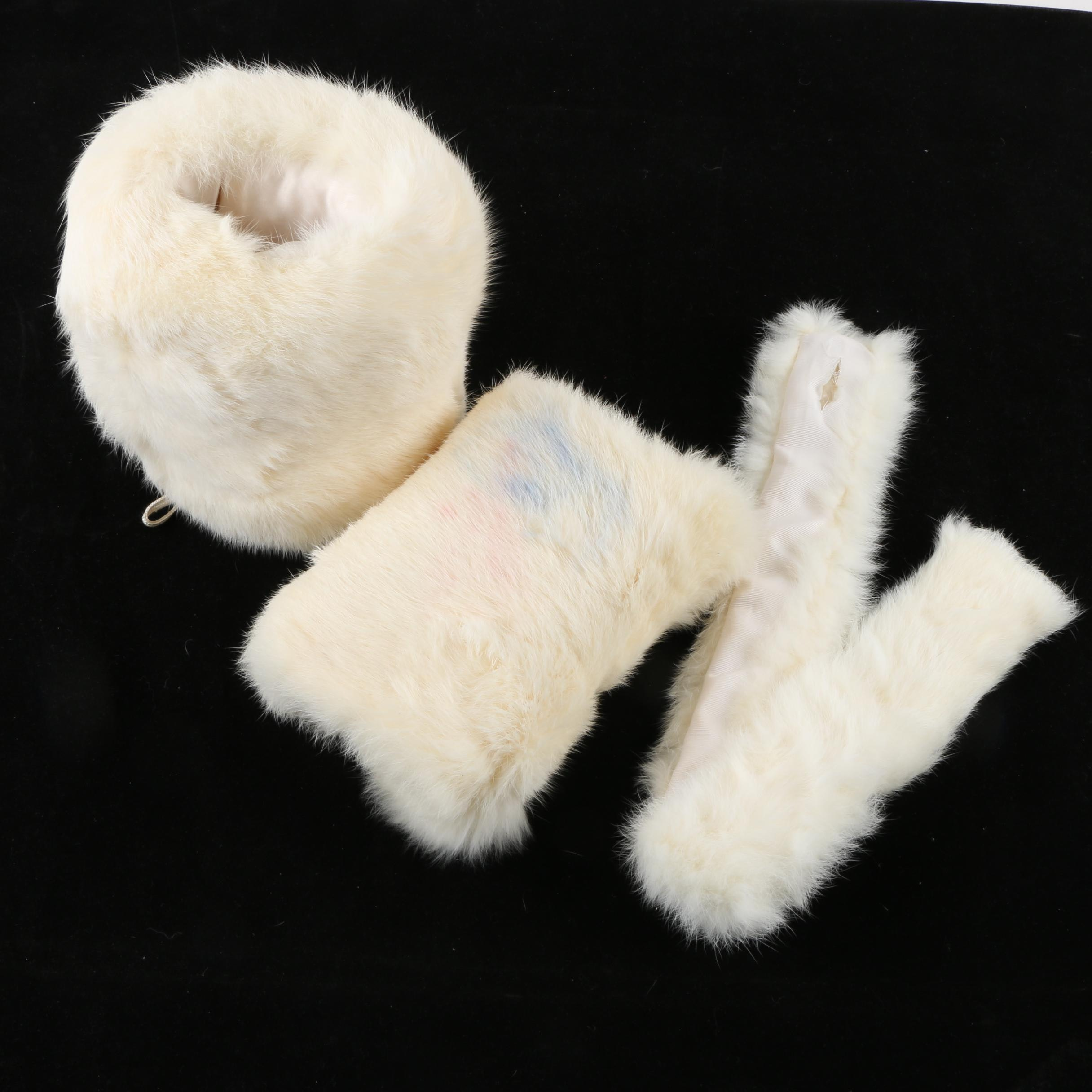 Girls' Rabbit Fur Muffs and Collar