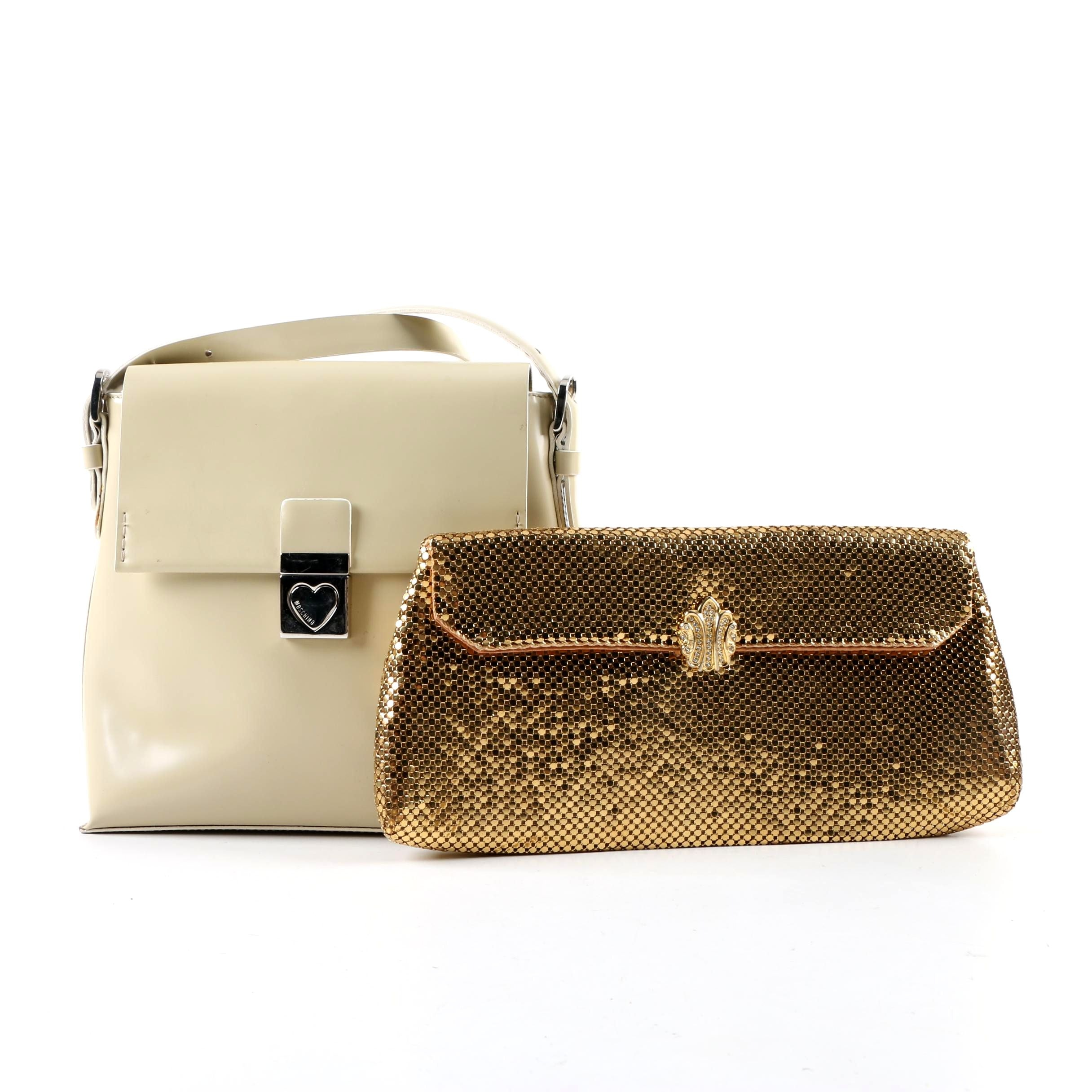 Moschino Leather Shoulder Bag and Vintage Whiting & Davis Gold Tone Mesh Clutch