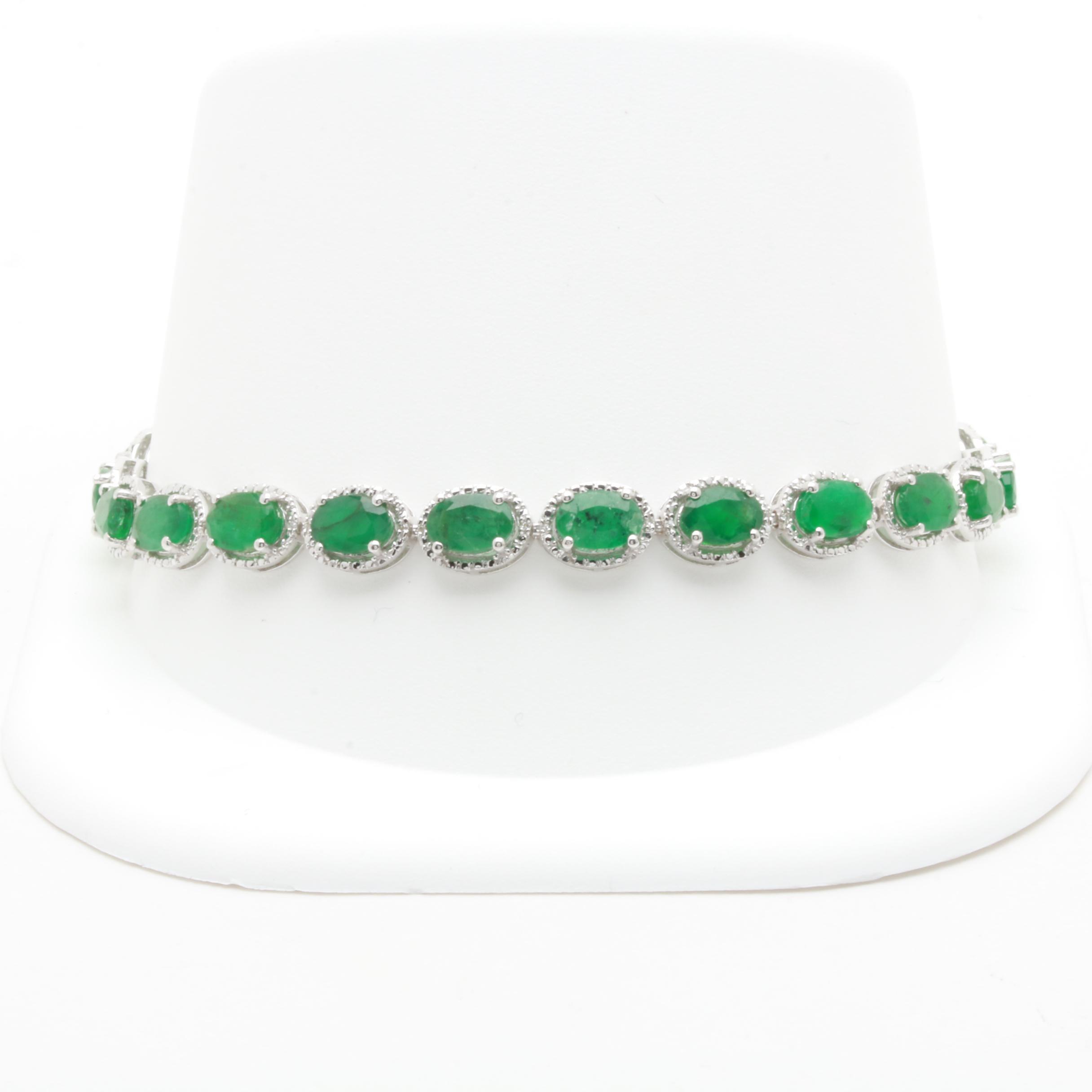 Sterling Silver Emerald and Diamond Tennis Bracelet