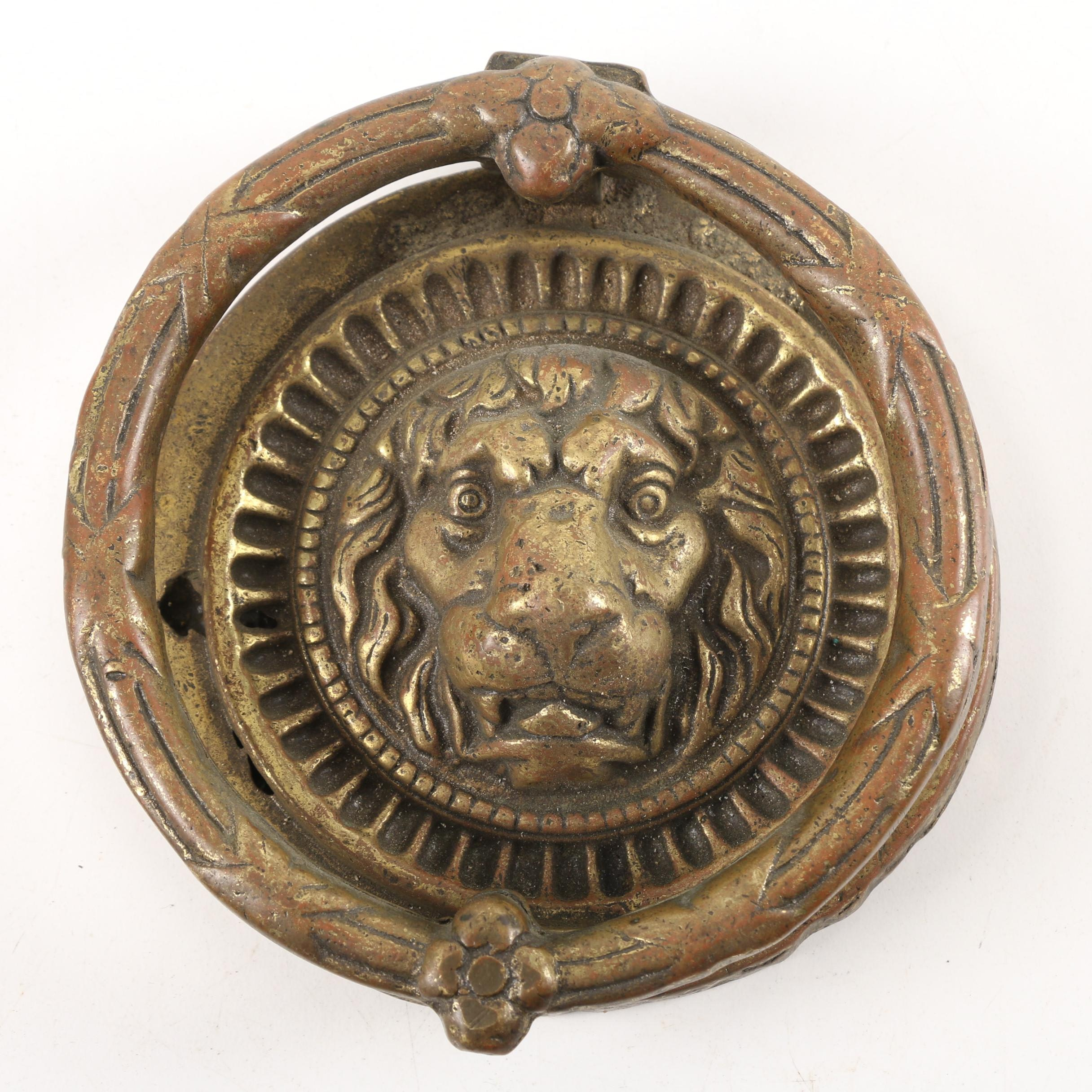 Cast Brass Lion's Head and Ring Door Knocker
