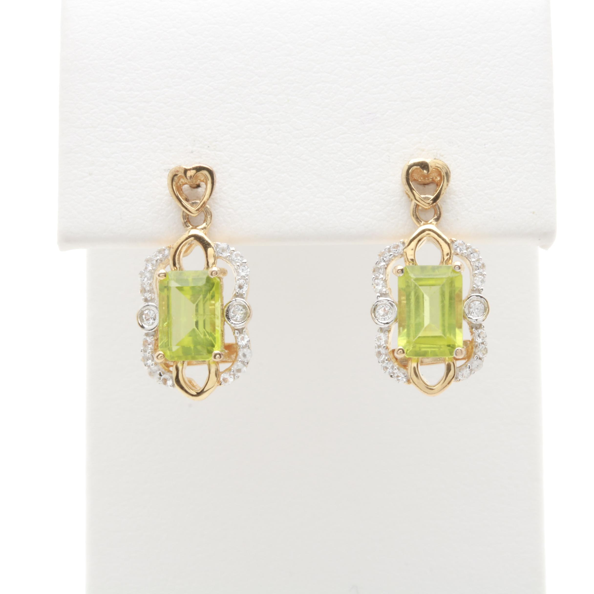 Gold Wash on Sterling Silver Peridot and White Topaz Earrings