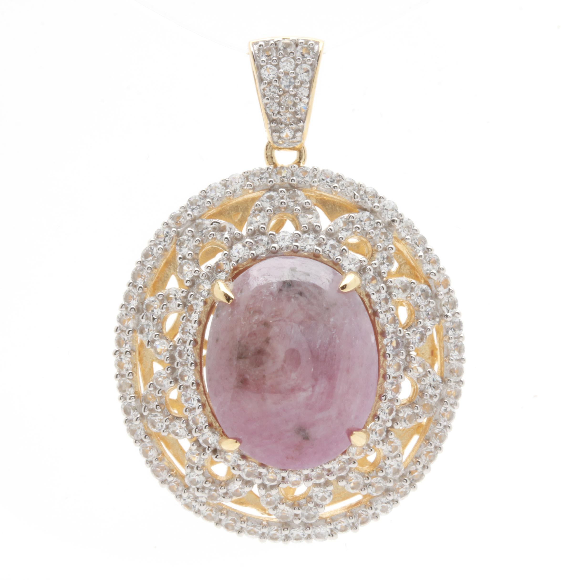 Gold Wash on Sterling Silver Star Ruby and White Sapphire Pendant