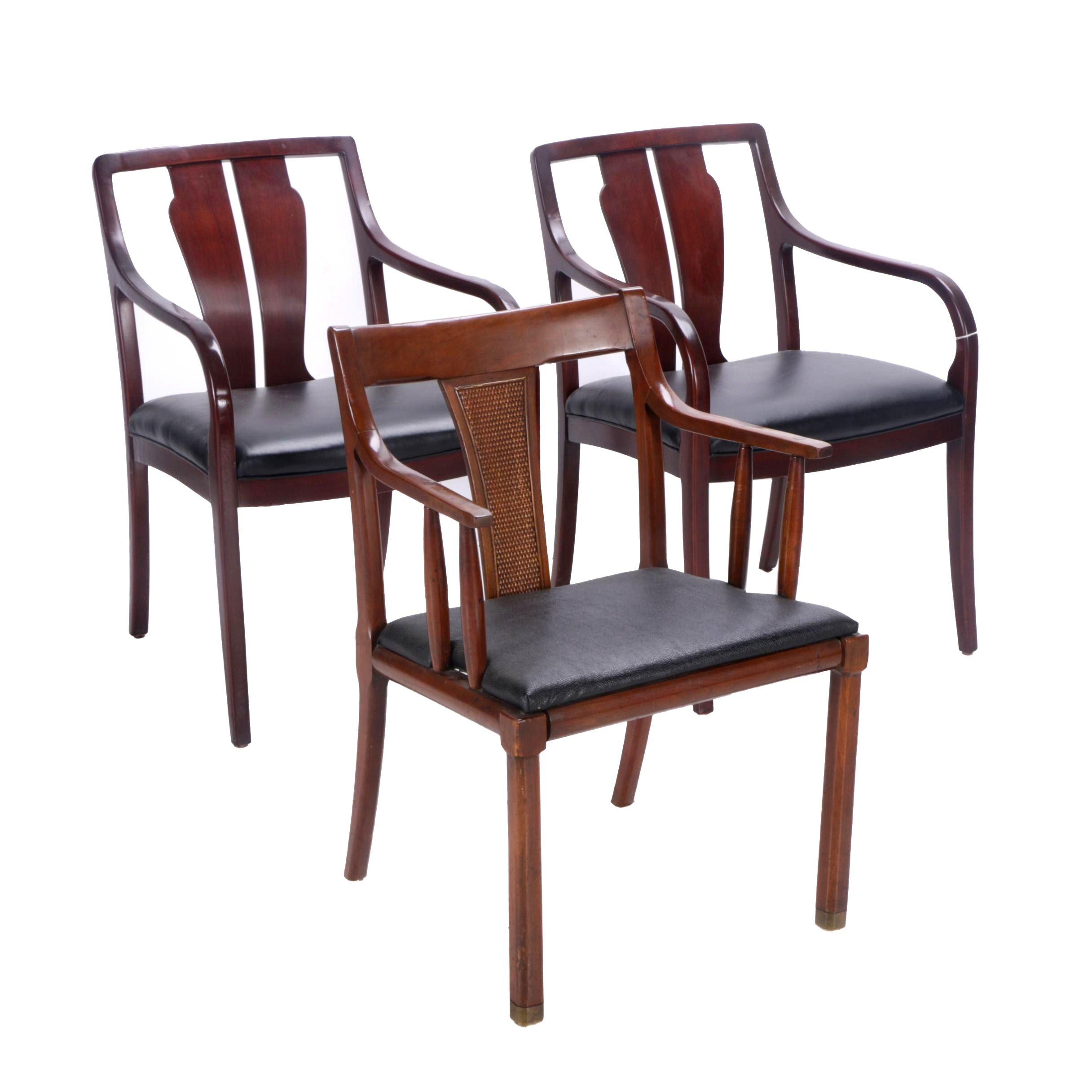 Wood and Leather Armchairs Including Cabot Wrenn Pair