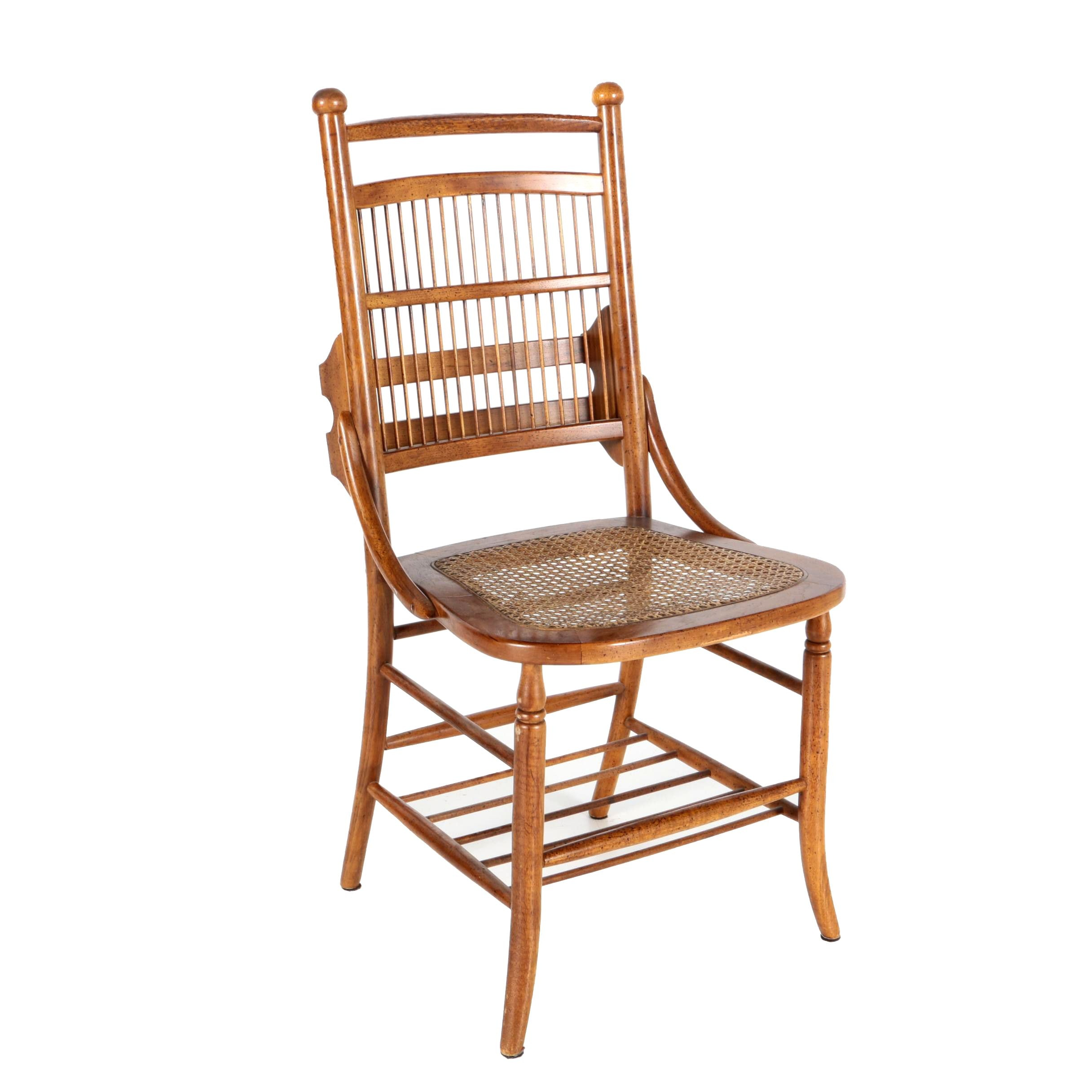 Caned Wooden Chair with Hymnal Rack