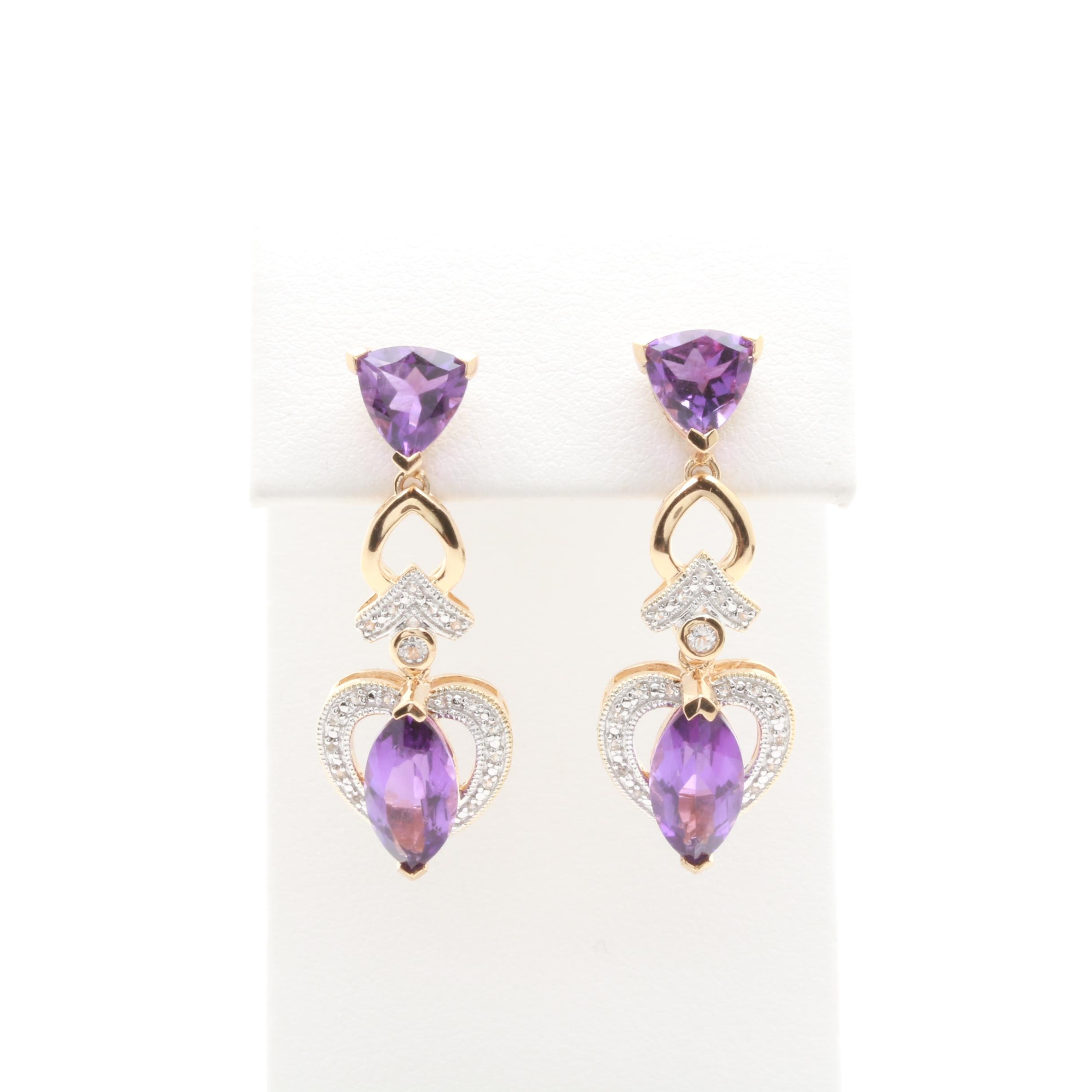 Gold Wash on Sterling Silver Amethyst and White Topaz Dangle Earrings
