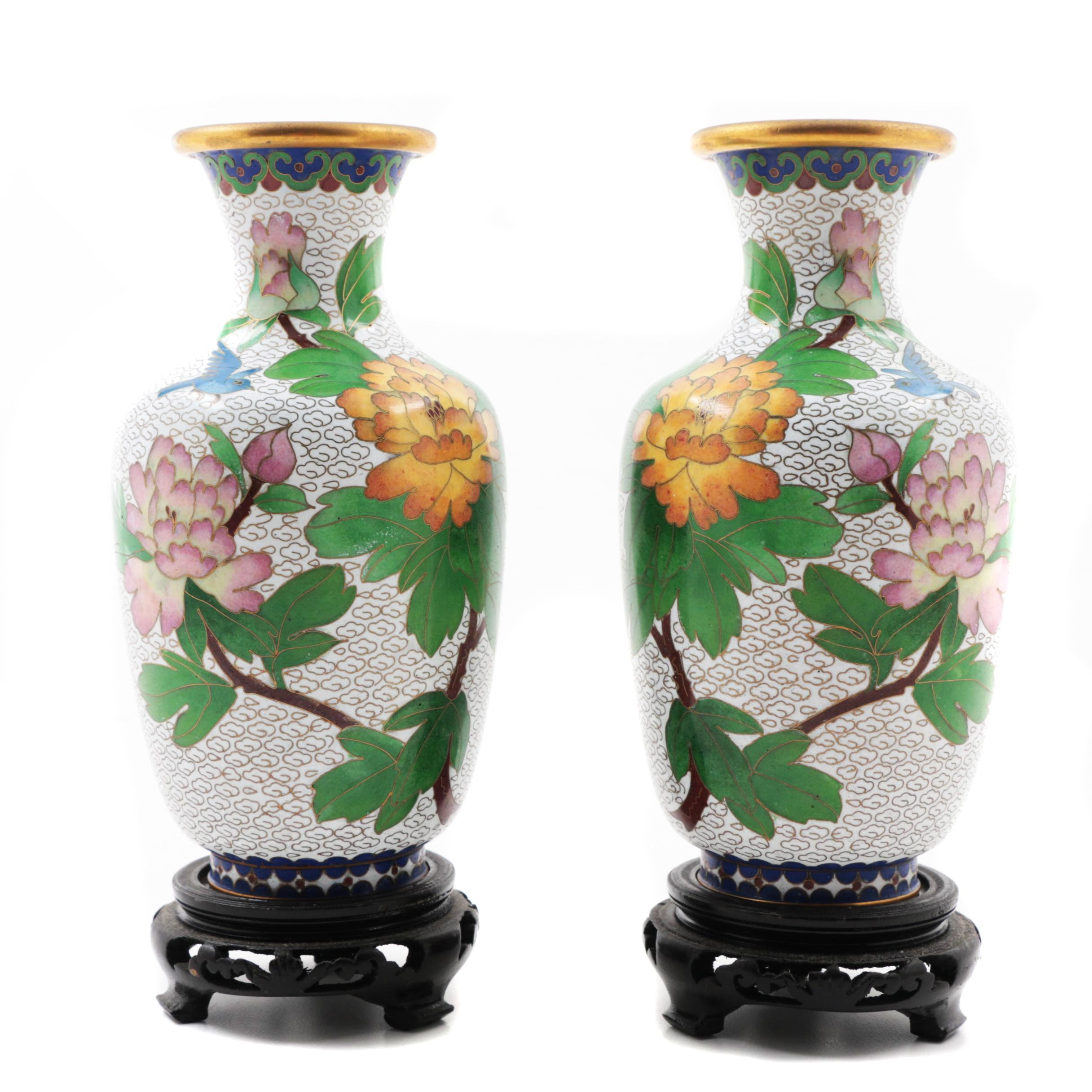 Pair of Chinese Export Jingfa Cloisonné Vases on Stands