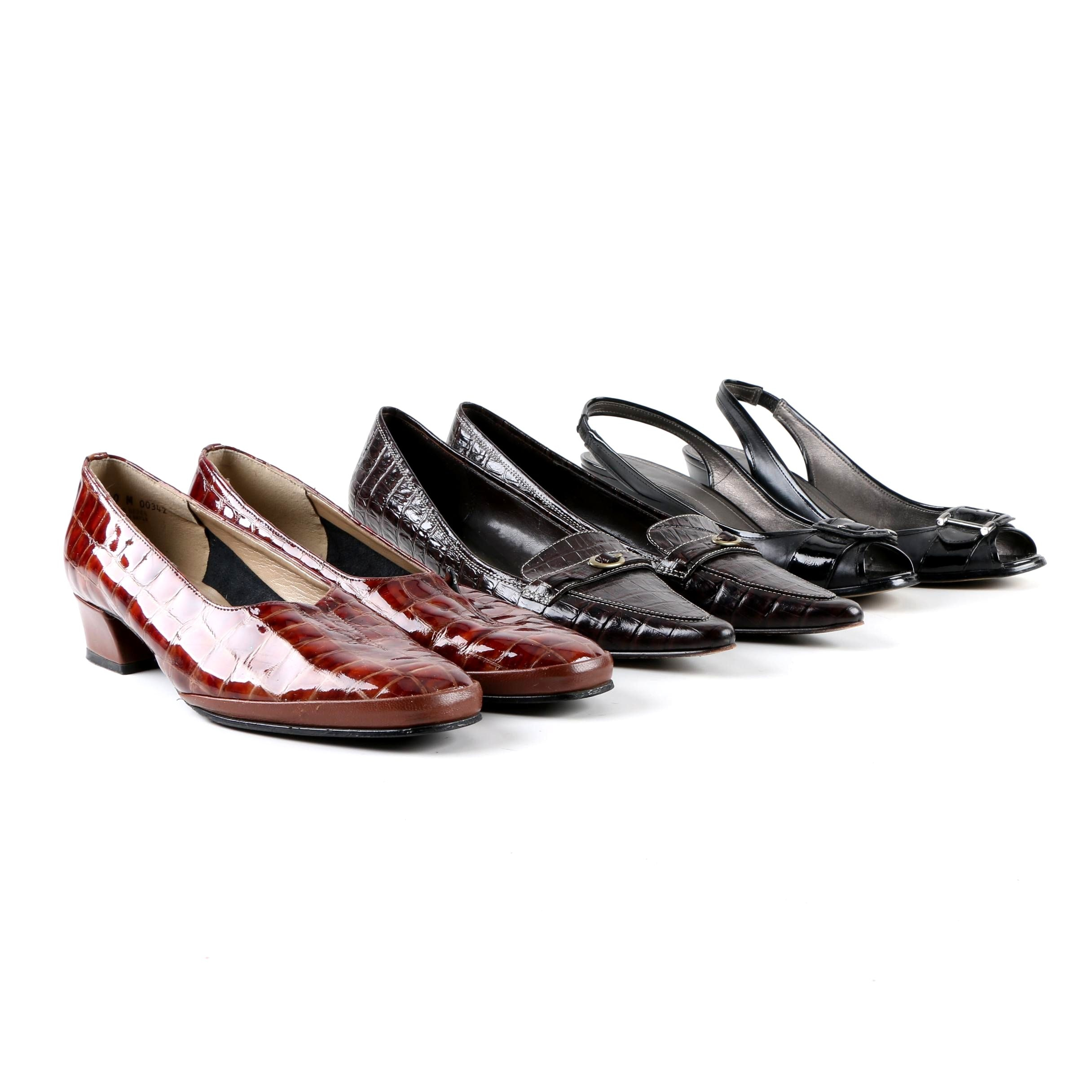 Women's Leather Low-Heeled Shoes Including Circa Joan & David and Magdesians