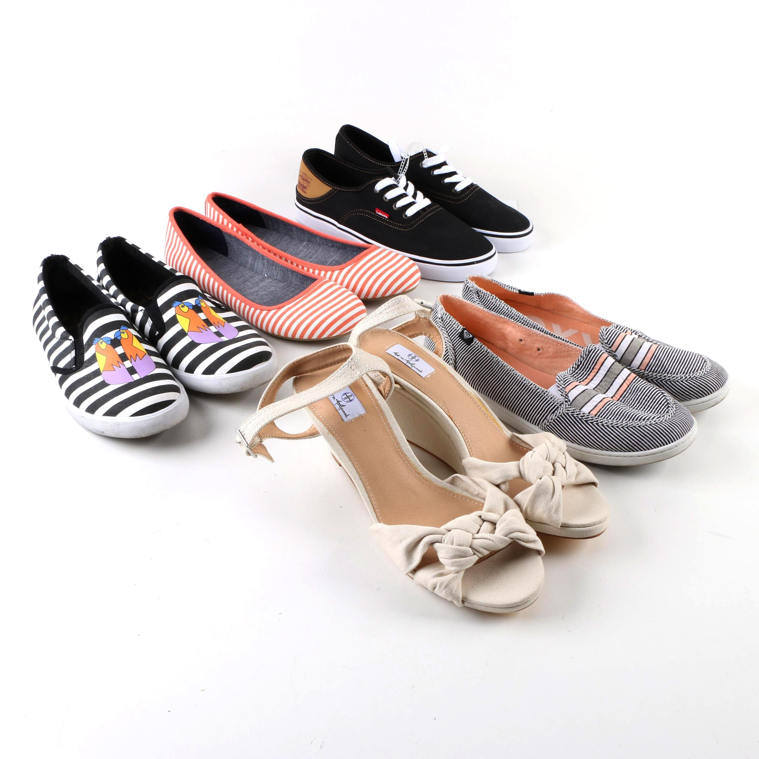 Women's Canvas Sneakers, Flats and Wedges Including Levi's and Roxy
