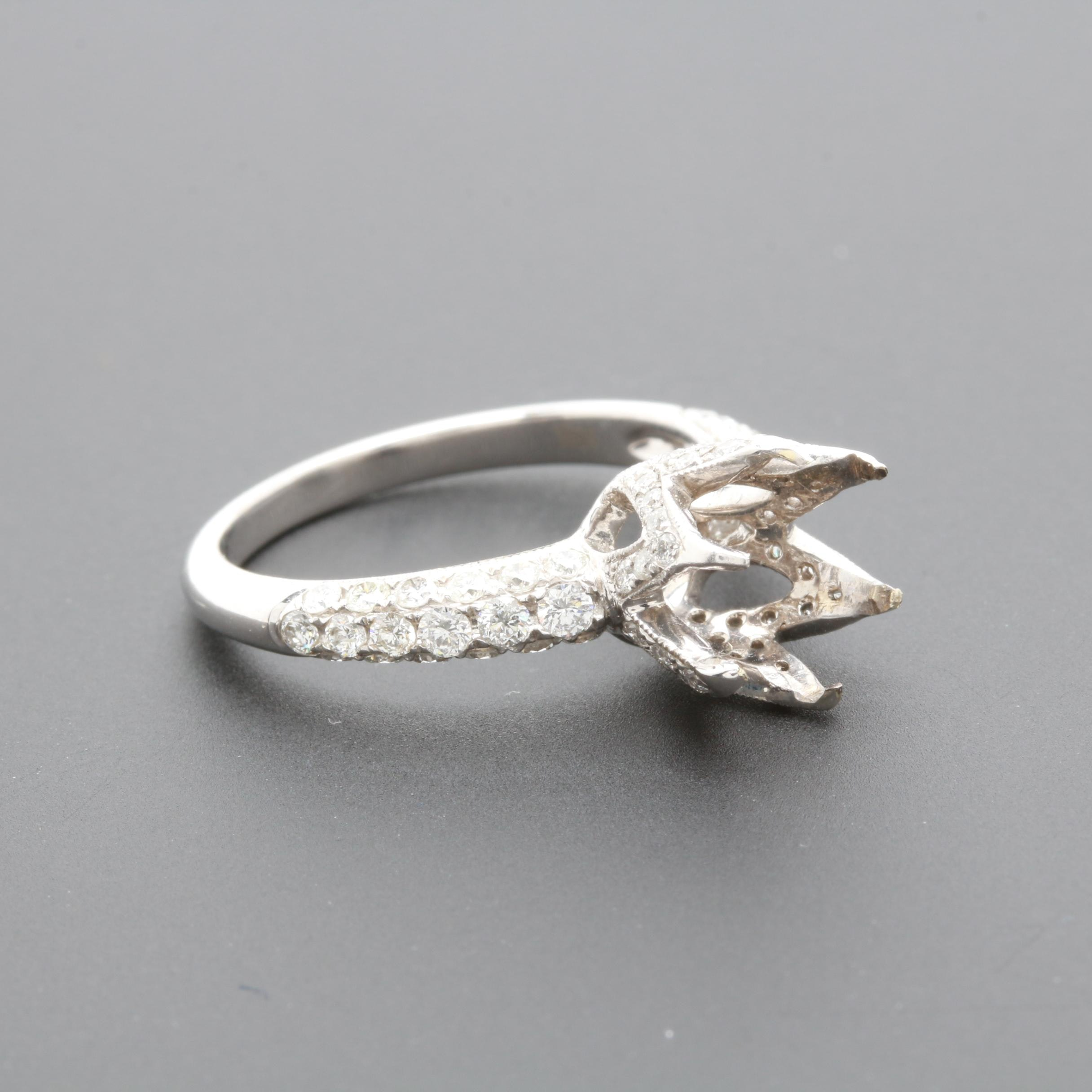 18K White Gold 1.00 CTW Diamond Semi Mount Ring
