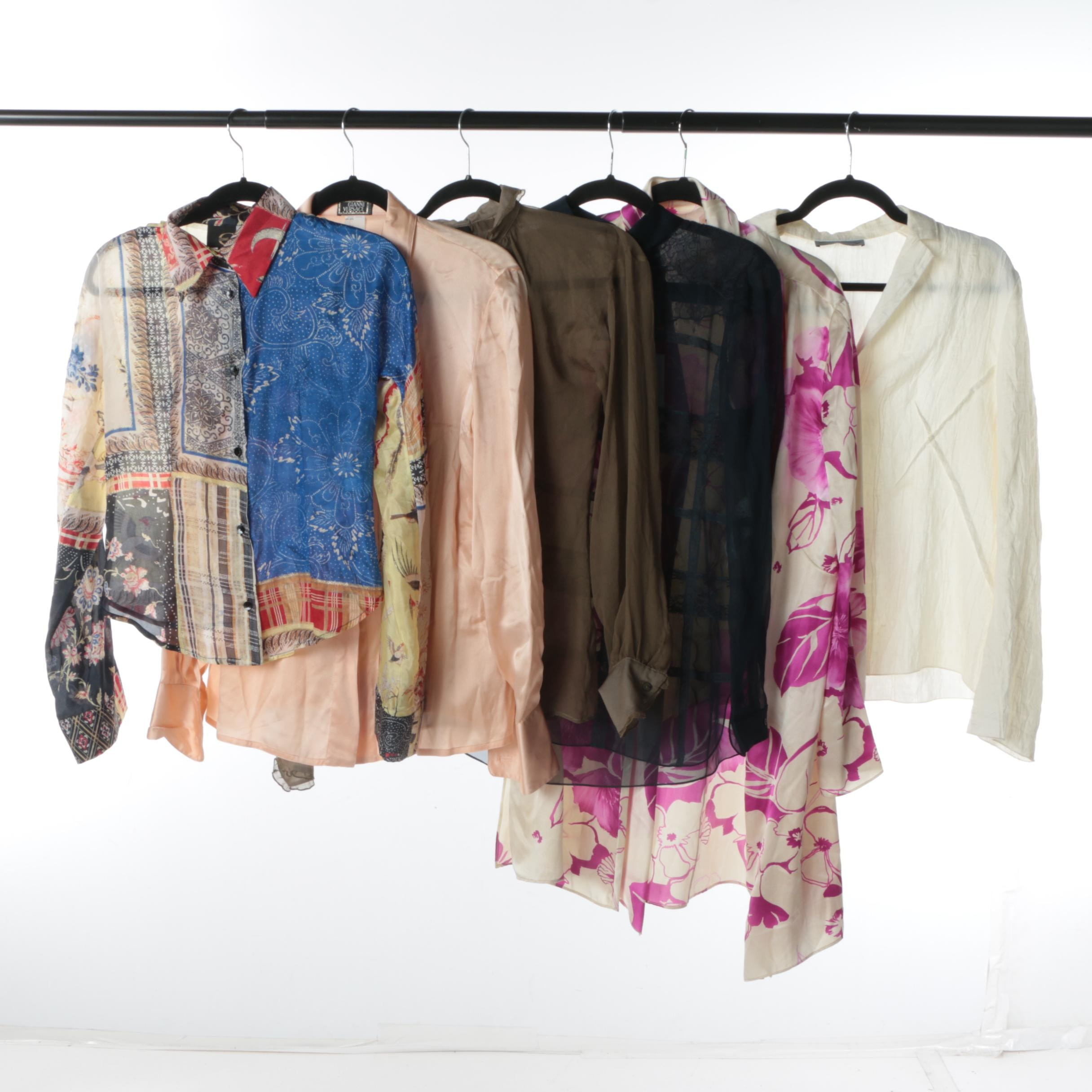 Designer Silk Blouses and Jacket Including Versace, Just Cavalli, Valentino