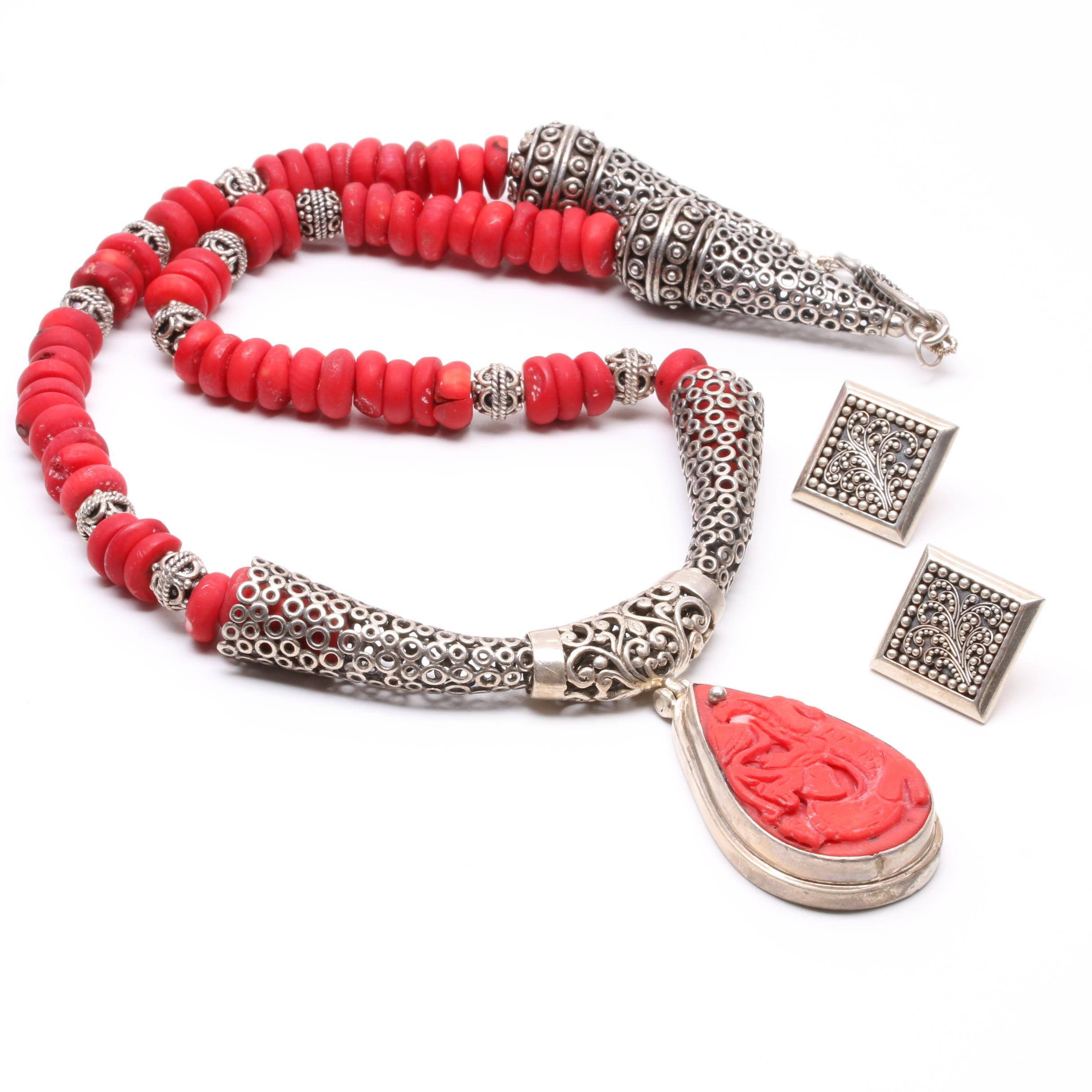 Lois Hill Sterling Silver Beaded Earrings with Coral Statement Necklace
