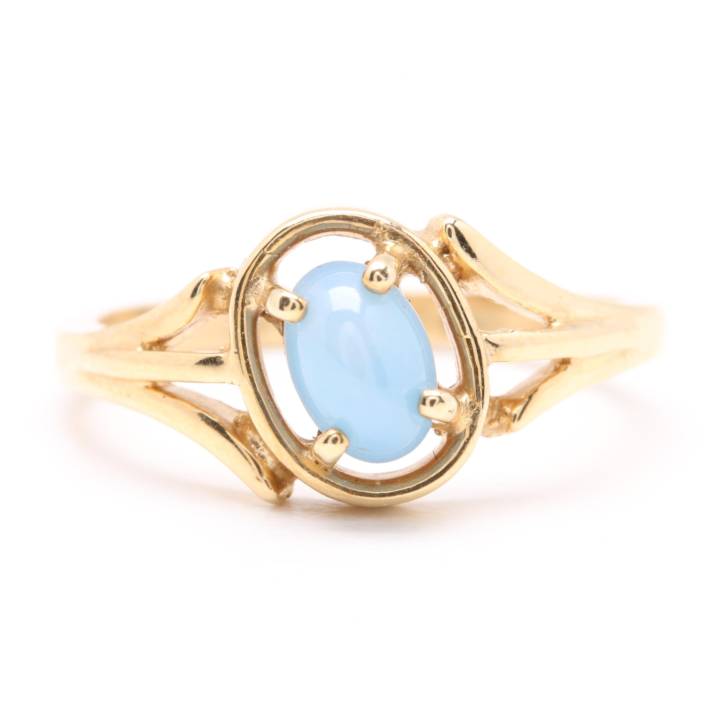 14K Yellow Gold Synthetic Star Sapphire Ring