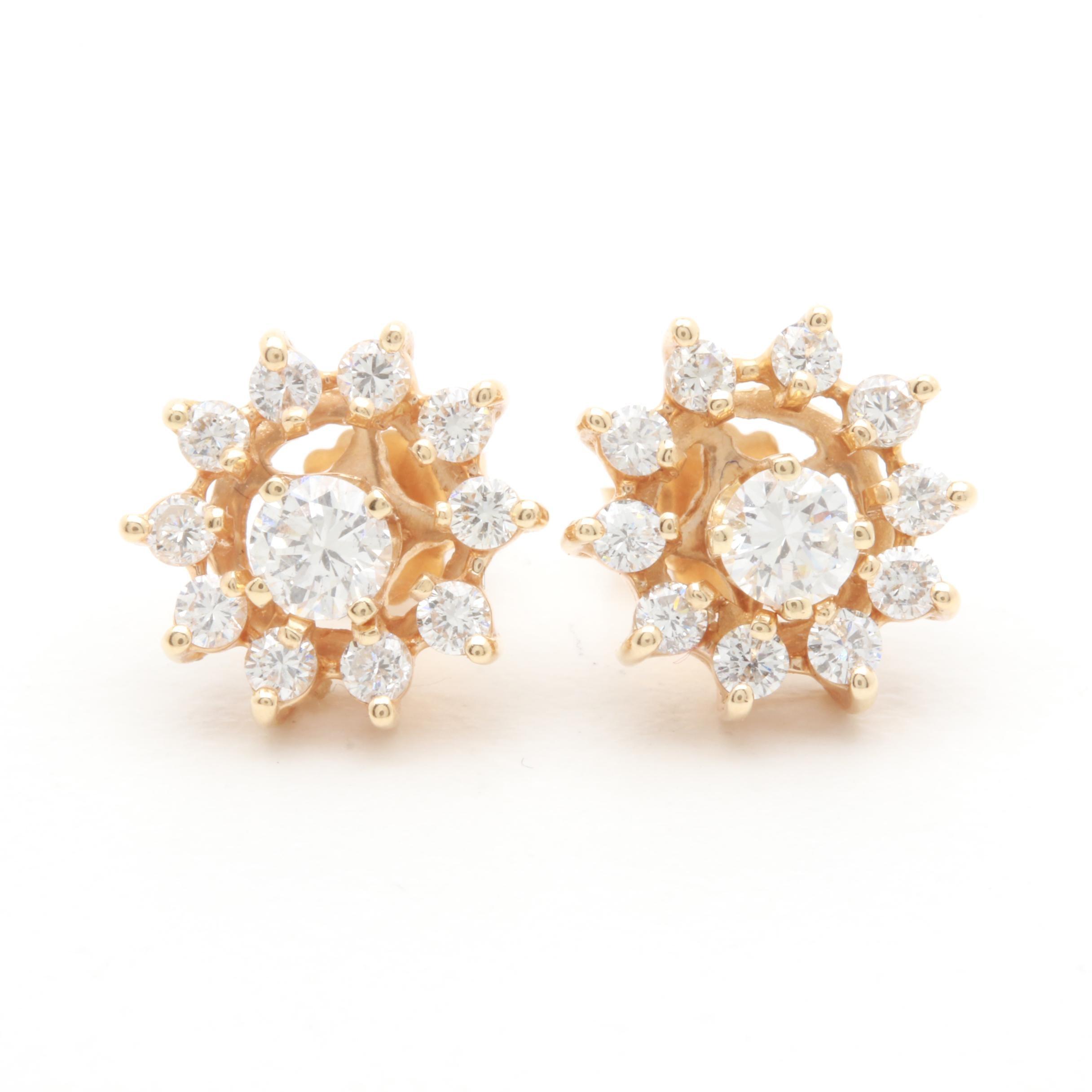 14K Yellow Gold Diamond Stud Earrings and Jackets