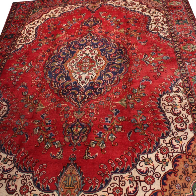 8'10 x 13'0 Vintage Hand-Knotted Persian Tabriz Rug