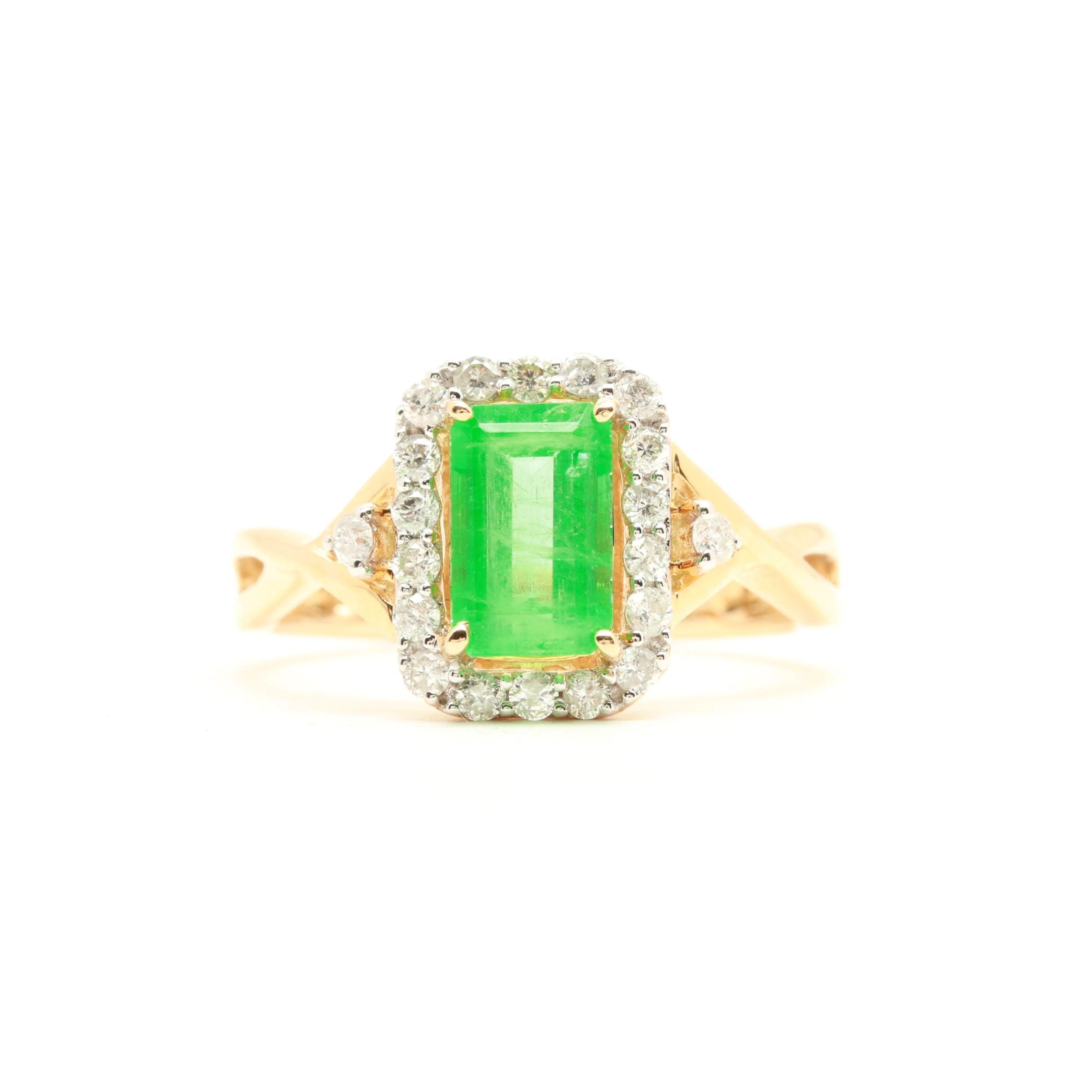 14K Yellow Gold 1.11 CT Emerald and Diamond Ring