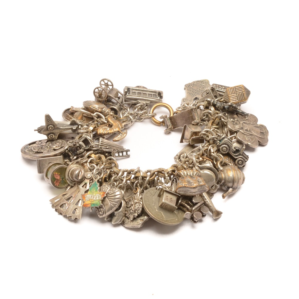 Silver Tone Charm Bracelet Including Some Sterling Silver Charms