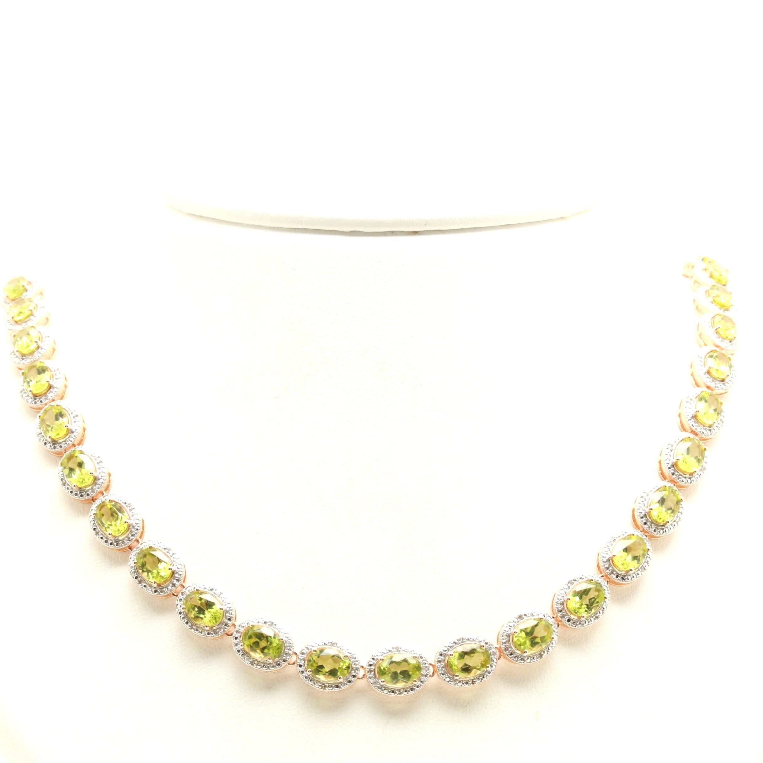 Gold Wash On Sterling Silver Peridot and Diamond Link Necklace
