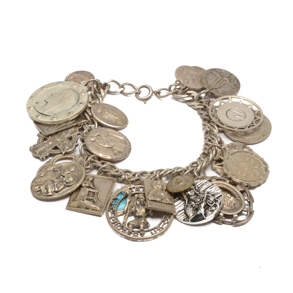 Sterling Silver Religious Charm Bracelet Including Some Sterling Silver Charms
