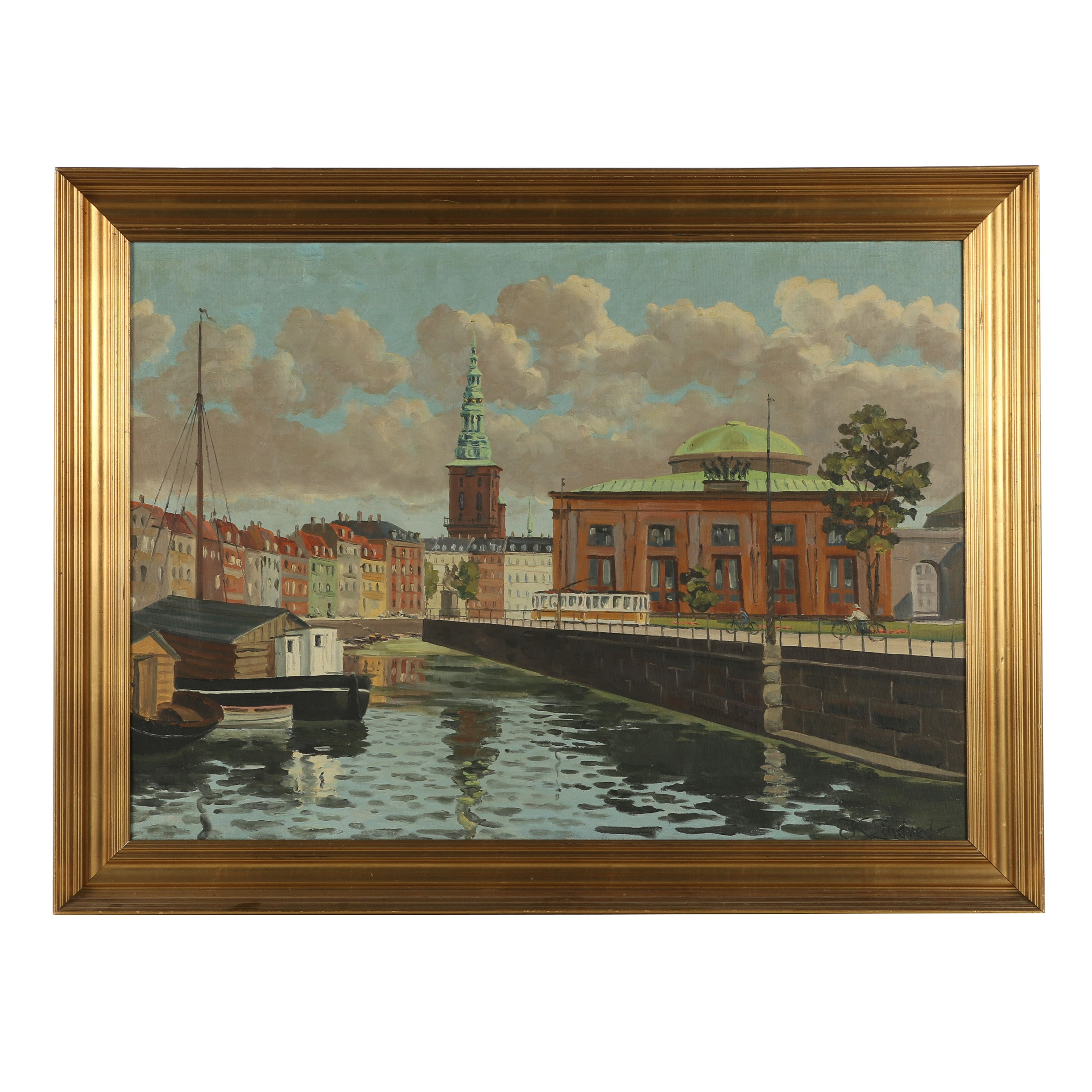 "K. Lindved Oil Painting ""European Canal"""