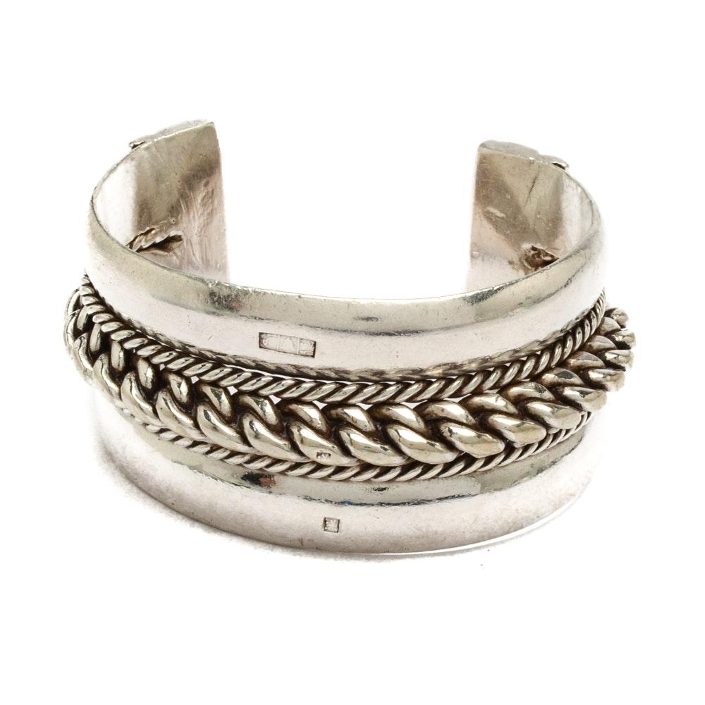 Heavyweight 800 Silver Egyptian Cuff Bracelet